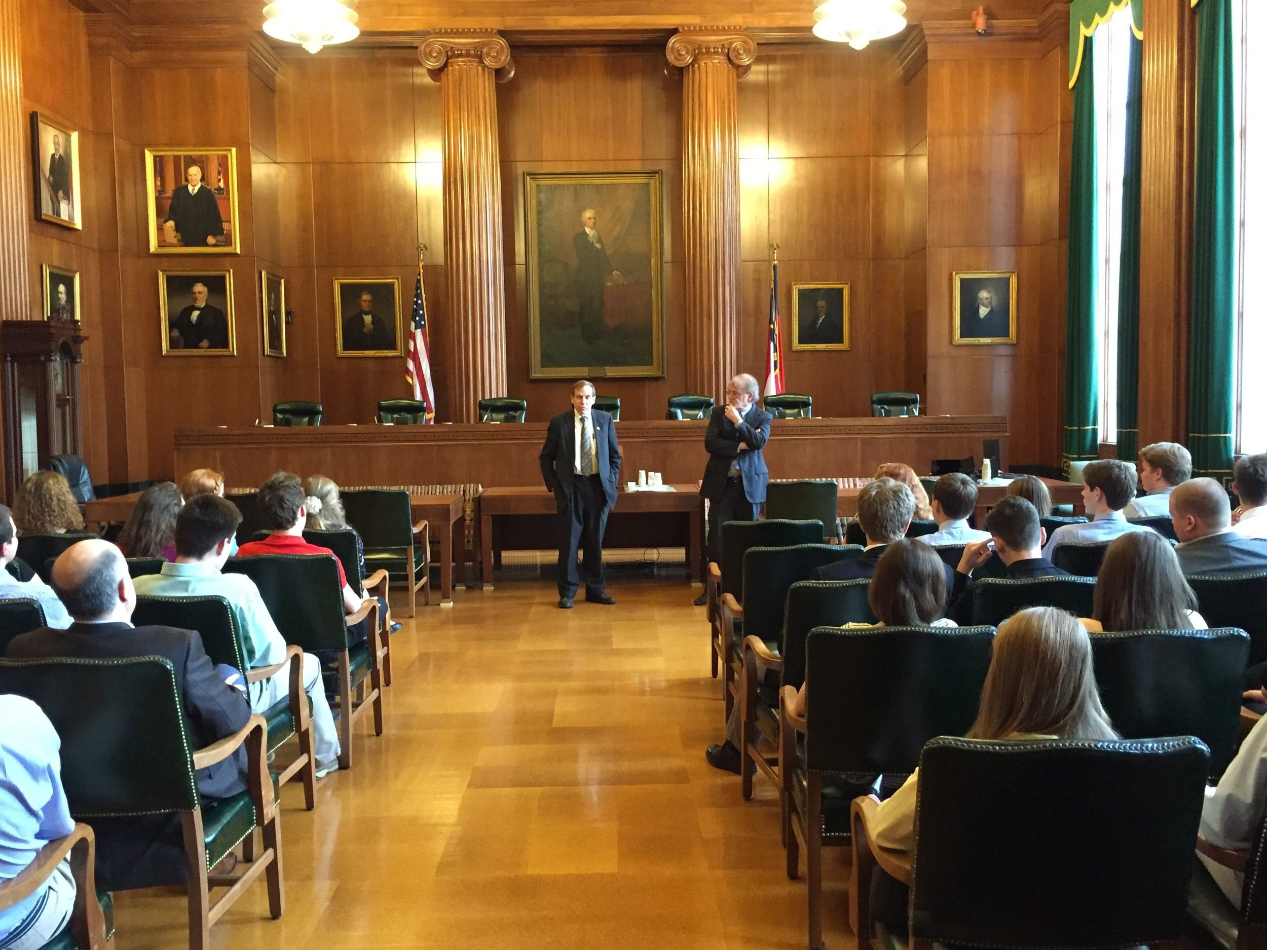 Speaking to high school participants in the N.C. High School Mock Trial competition on March 12, 2016.