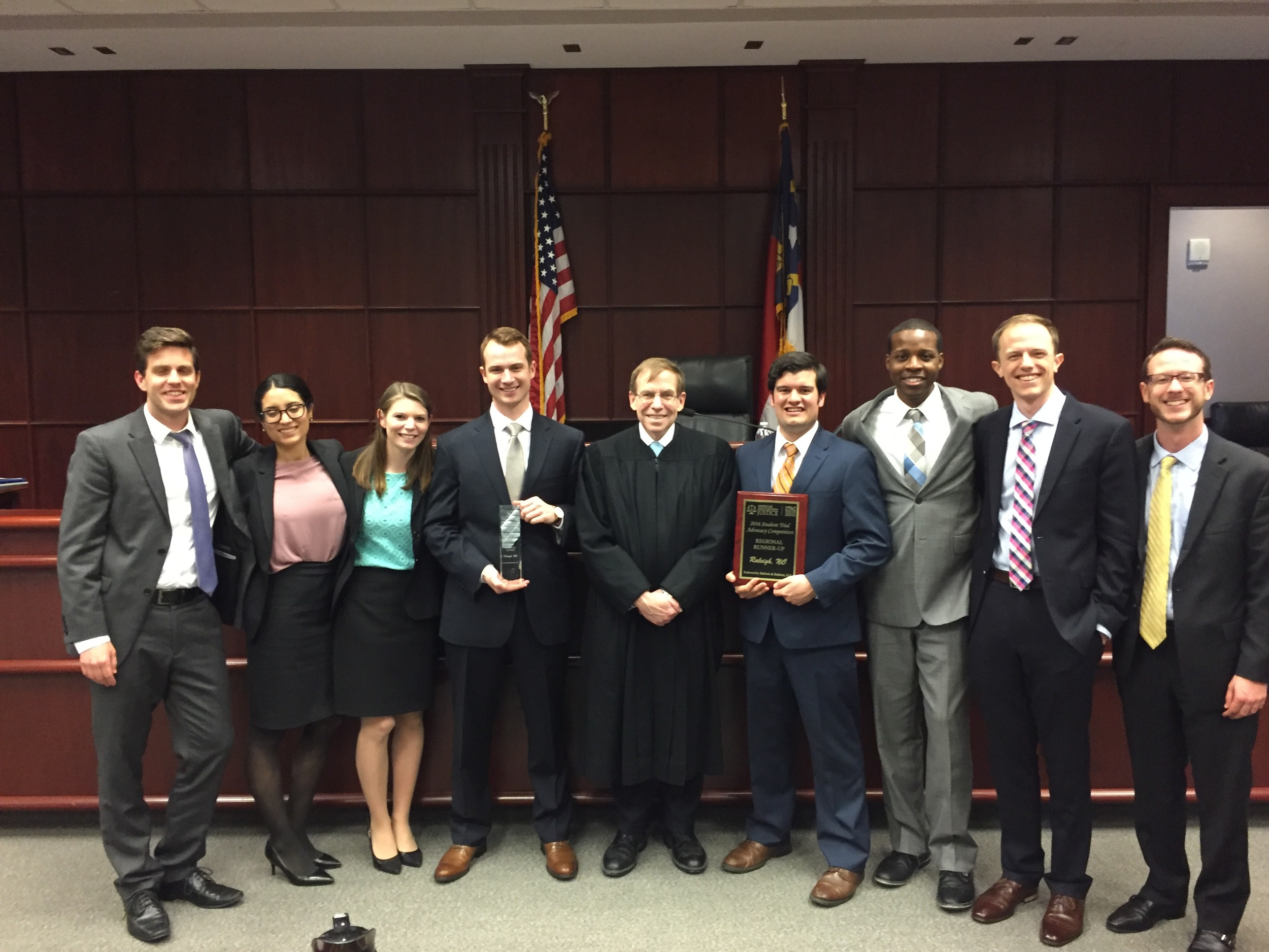 With finalists at American Advocates For Justice Student Trial Advocacy Competition, Wake County Courthouse, March 13, 2016.