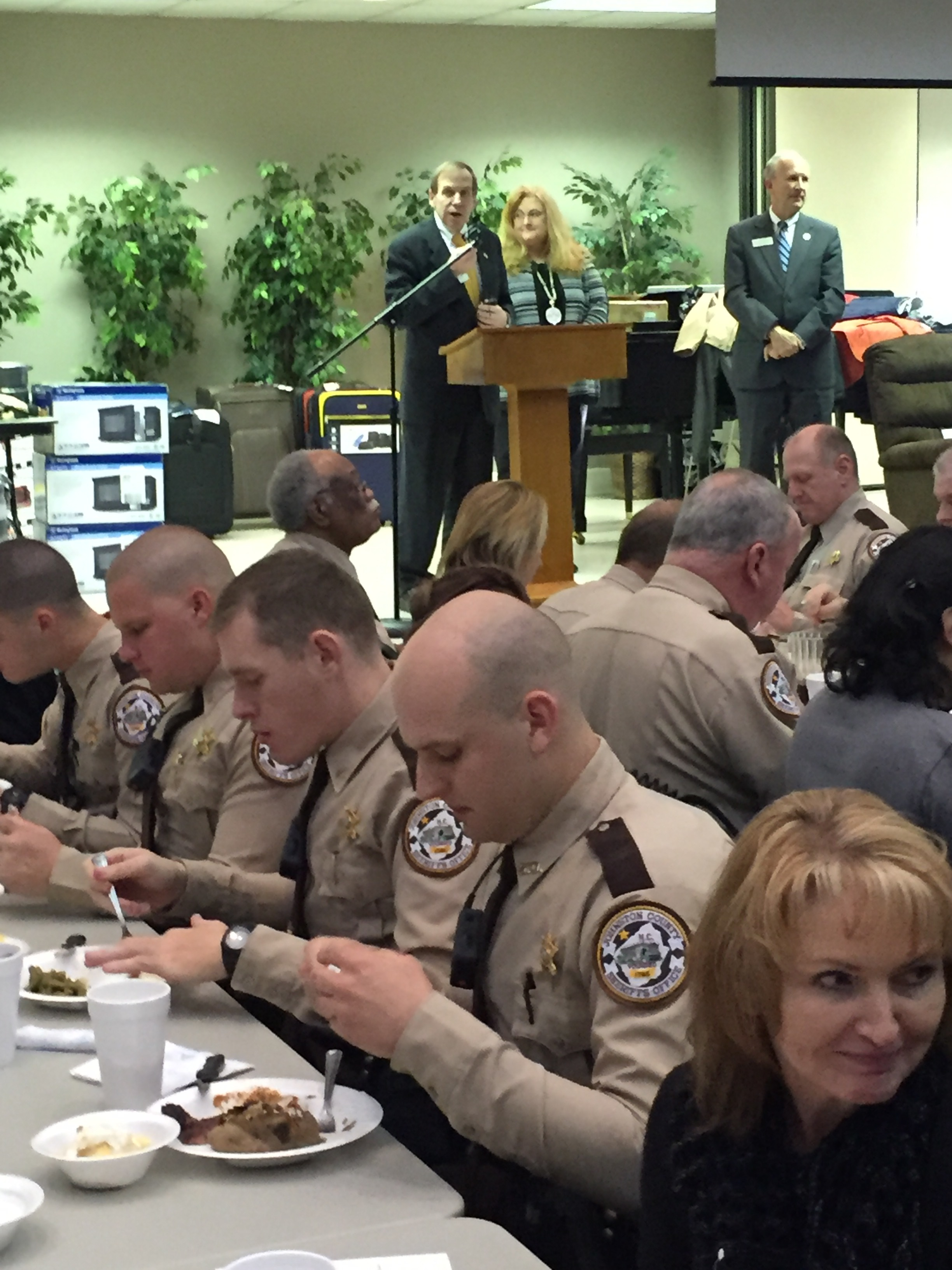 Speaking at Johnston County Law Enforcement Appreciation Dinner, April 5, 2015.