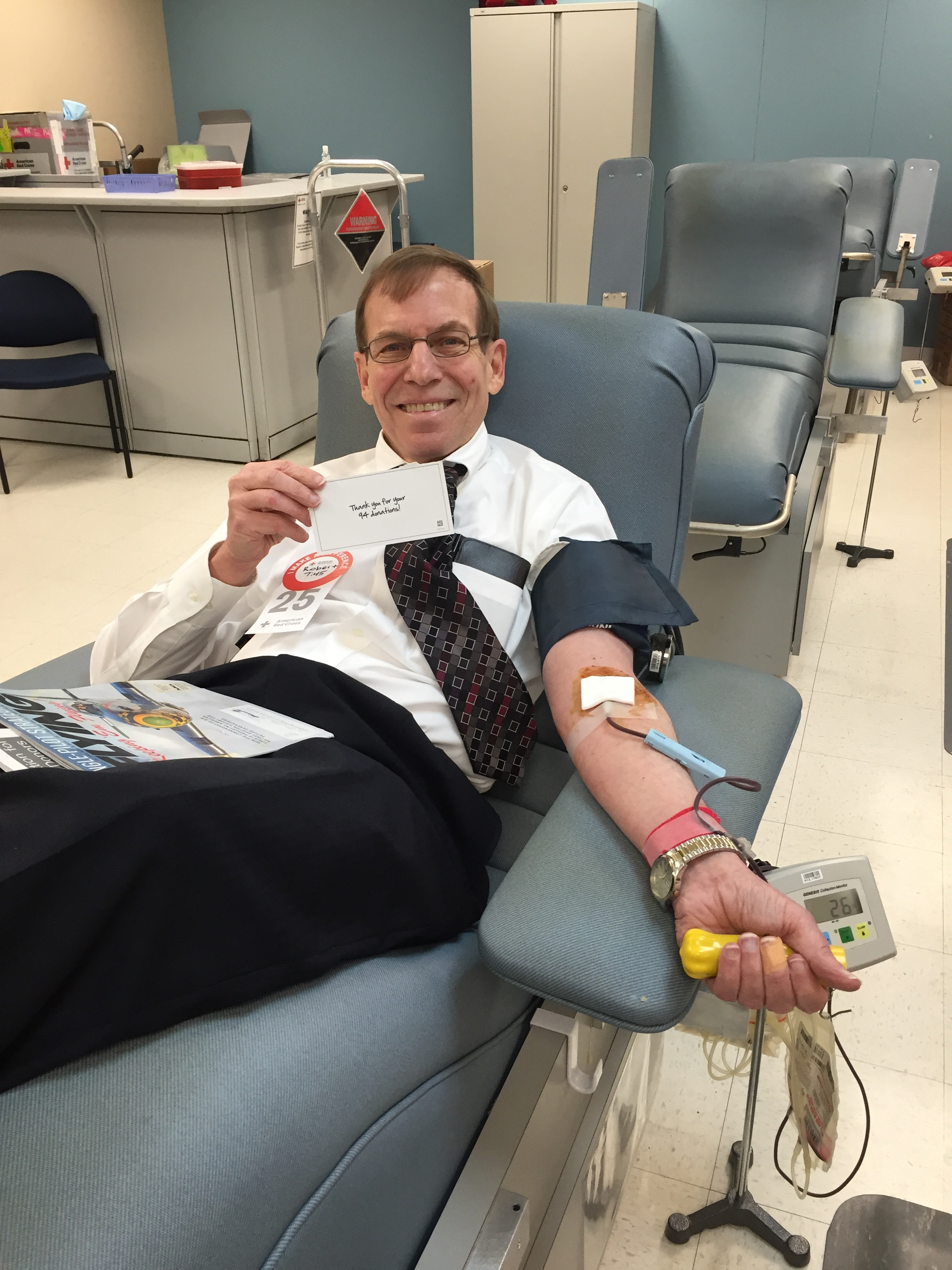 Justice Edmunds is a frequent blood donor—this is a shot of his 95th blood donation since arriving in Raleigh in 1999 on April 21, 2016.