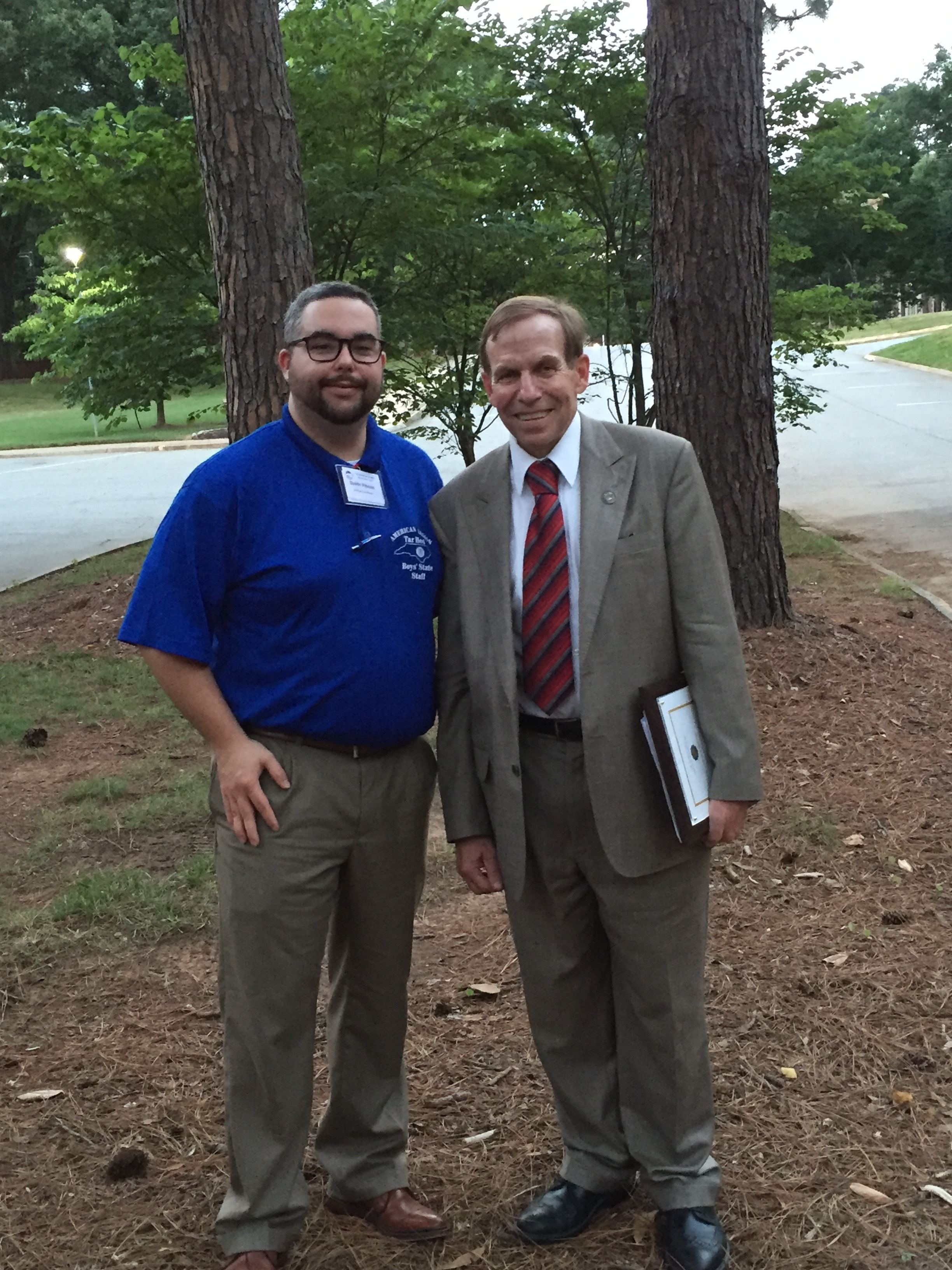 With former student and current Boys State volunteer Dustin Pittman on campus of Catawba College in Salisbury, 22 June 2016.