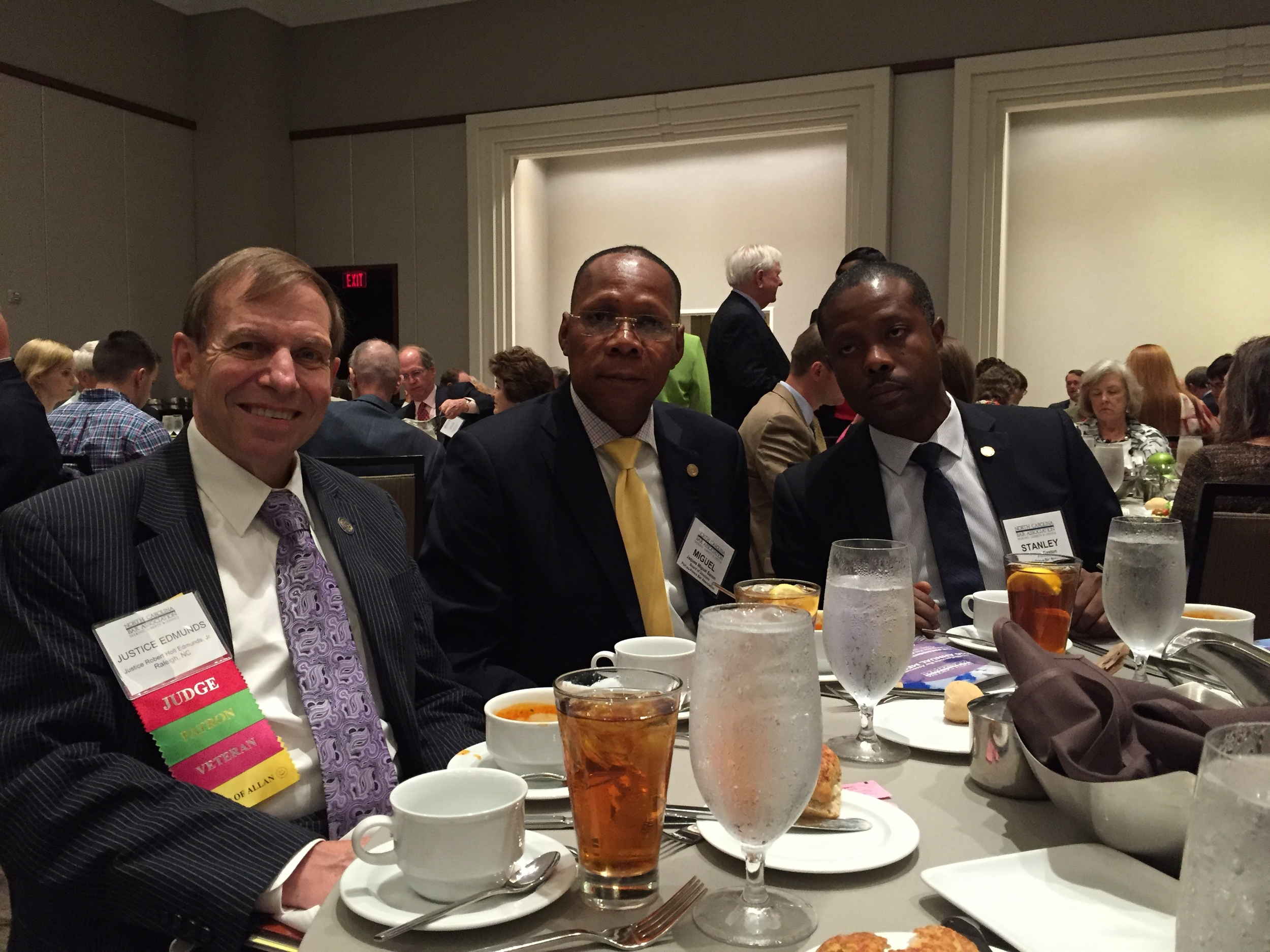 Dining with lawyers visiting from Haiti, N.C. Bar Association annual convention in Charlotte, June 25, 2016.