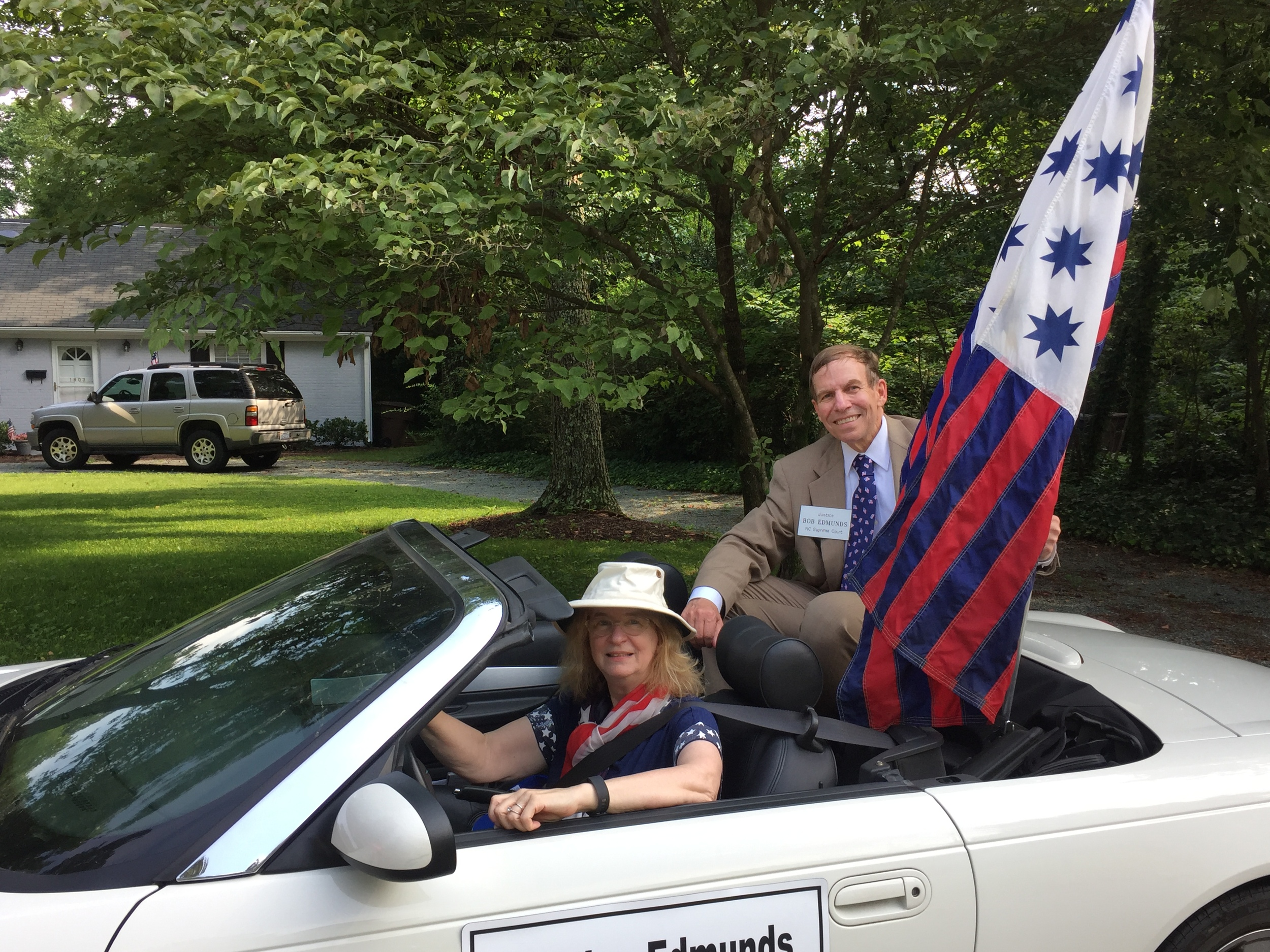 Carrying the flag from the Battle of Guilford Courthouse while participating in Greensboro's Kirkwood parade, July 4, 2016.