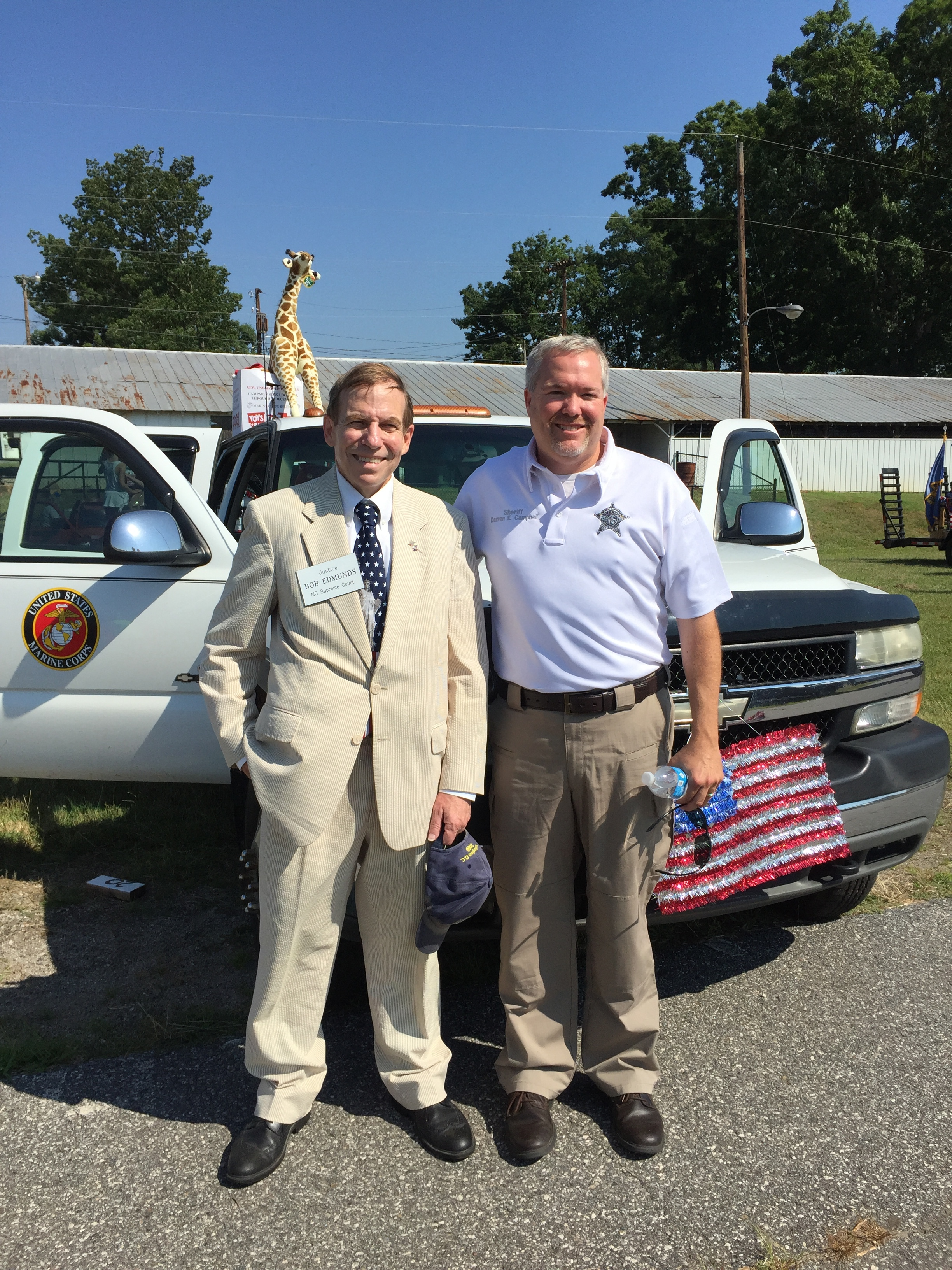 With Iredell County Sheriff Darren Campbell at Troutman parade, July 2, 2016.