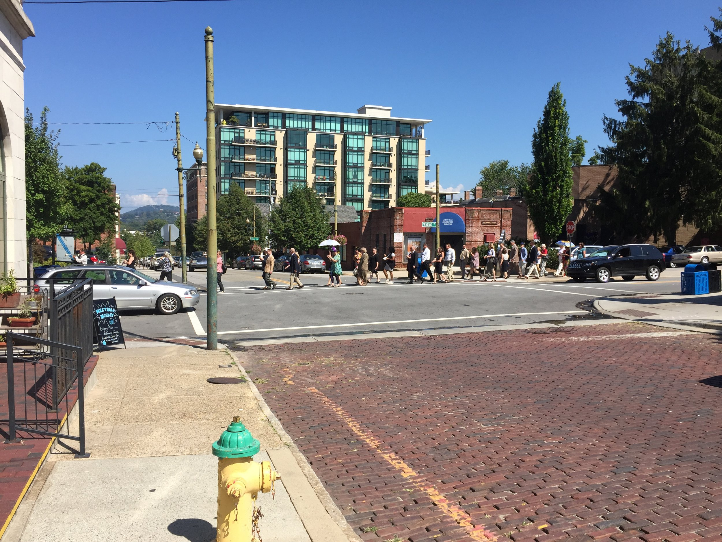 Being serenaded by a brass band in Asheville, September 14, 2014.