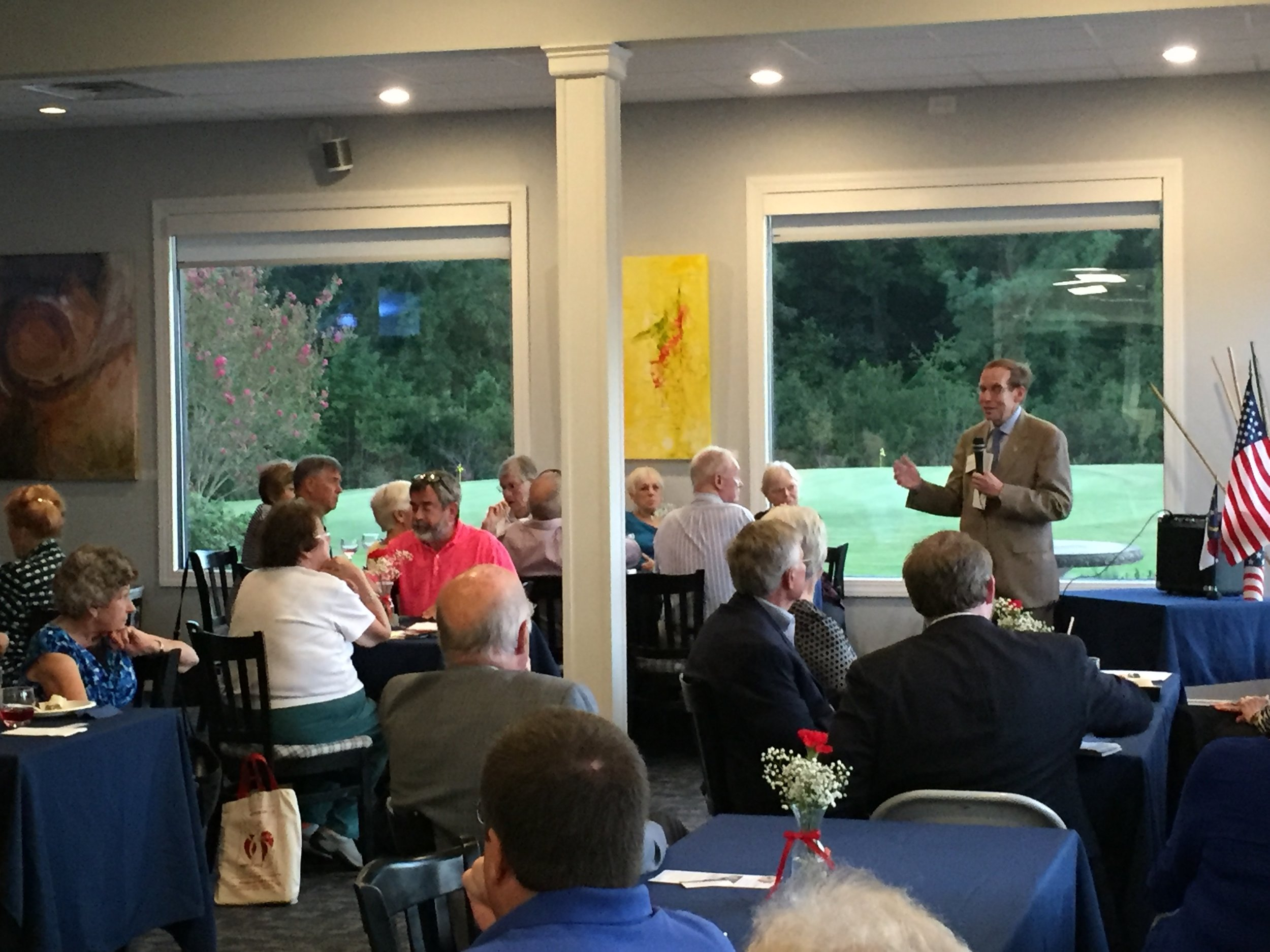 speaking to a packed house in Morehead City, September 16, 2016.