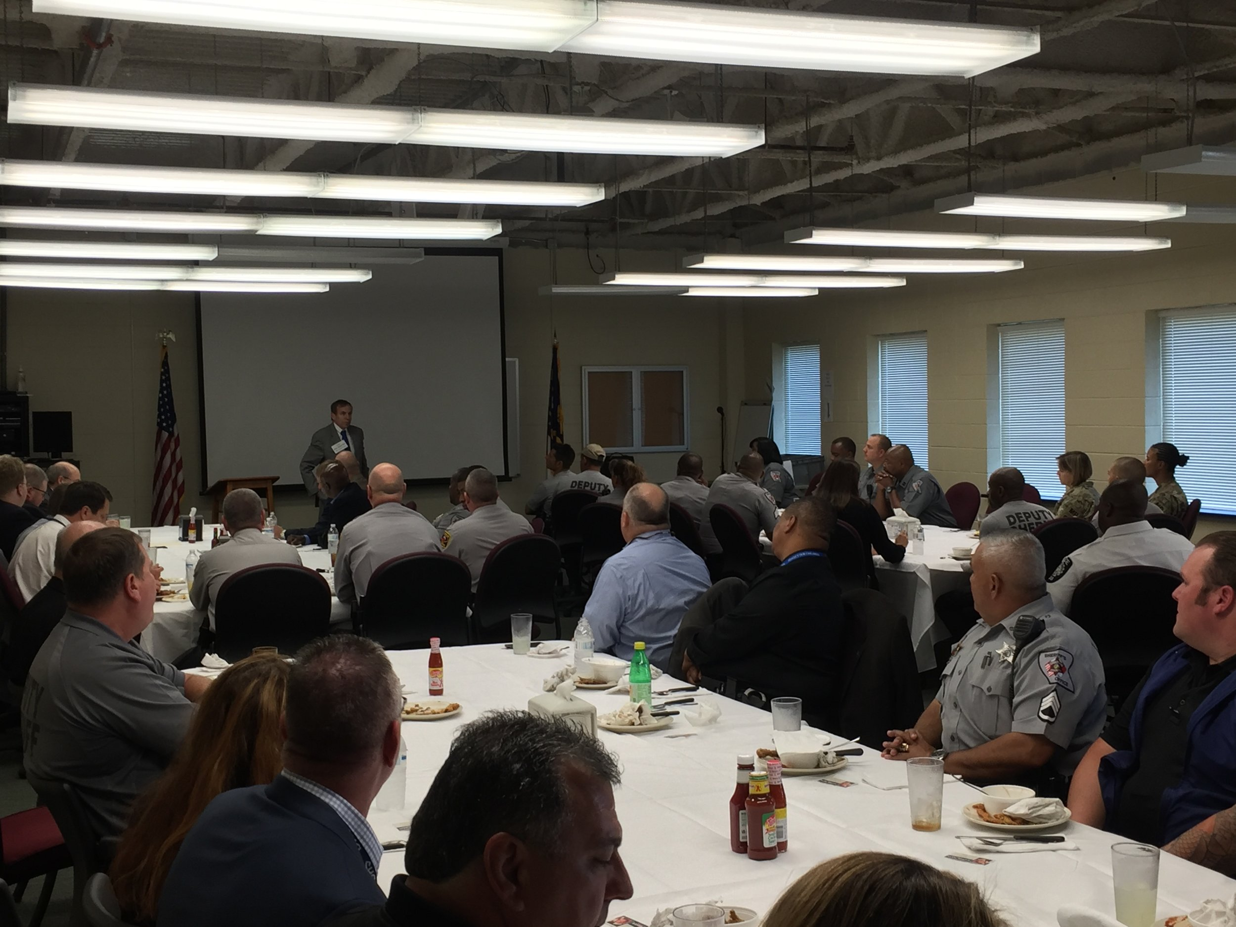 Speaking with state and federal law enforcement officials in Cumberland County, October 3, 2016.