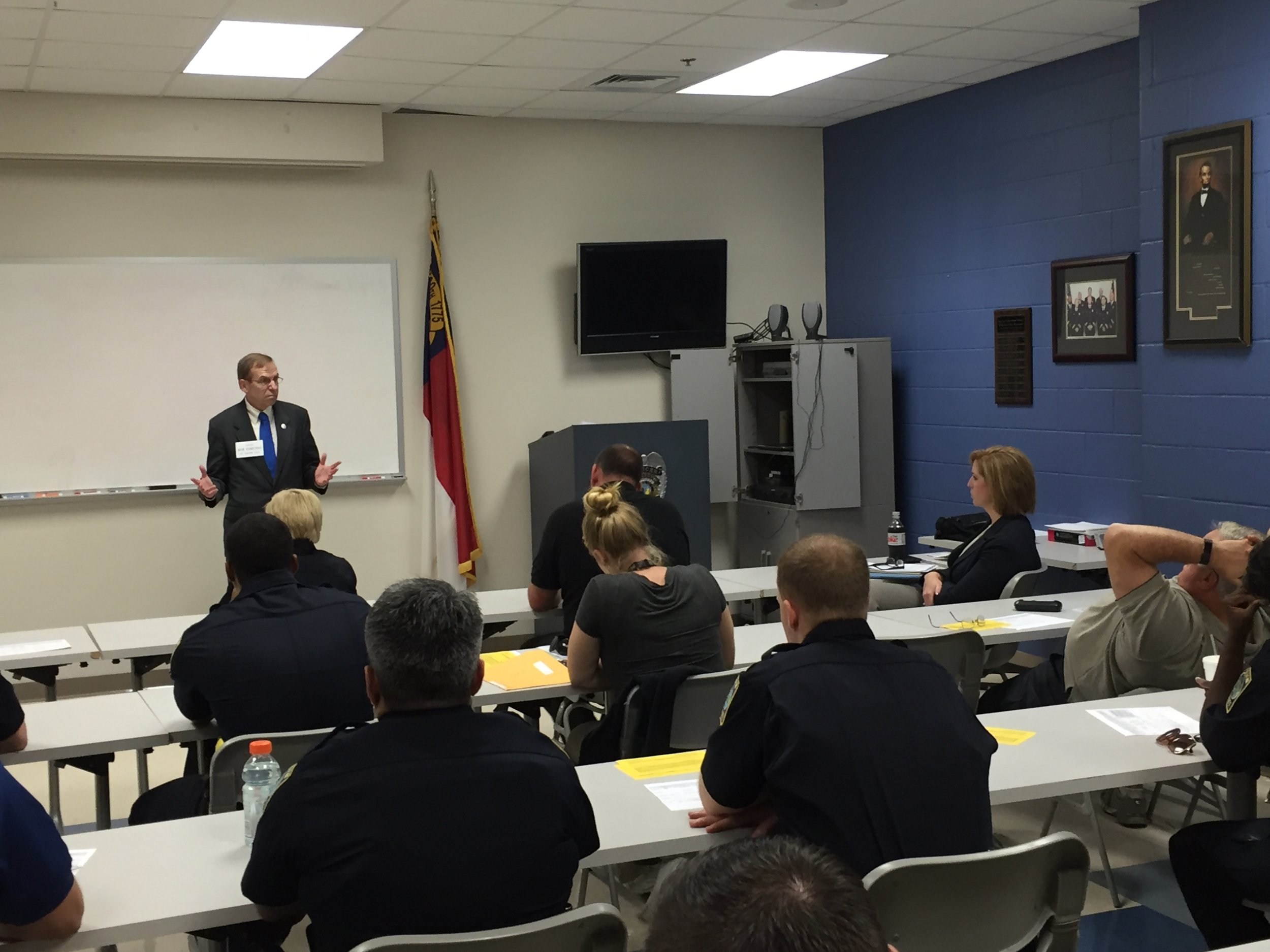 Teaching Supreme Court procedure to a Basic Law Enforcement Training class at the Wilmington Police Department, October 17, 2106.