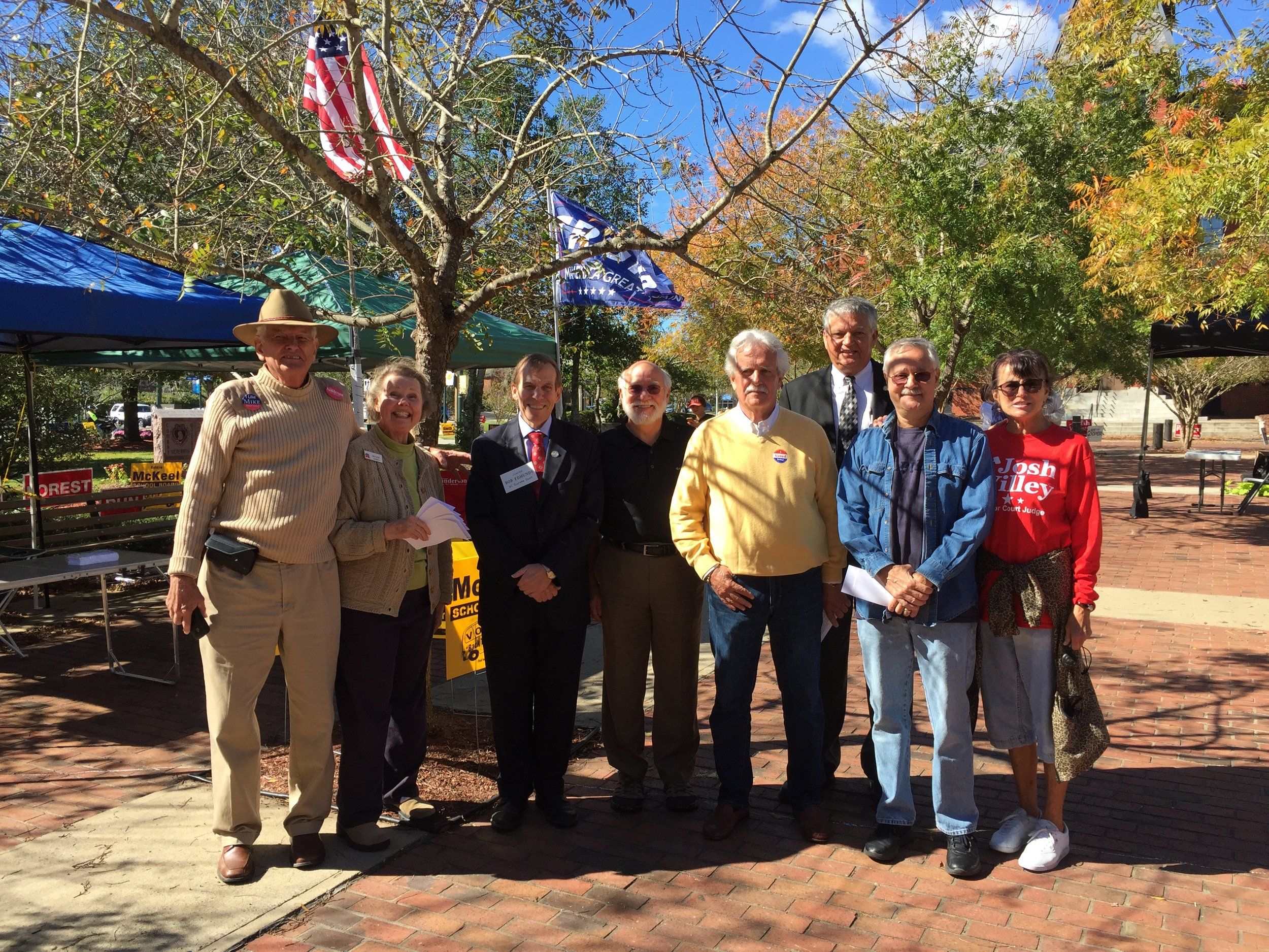 Meeting early voters in New Bern, October 22, 2016.