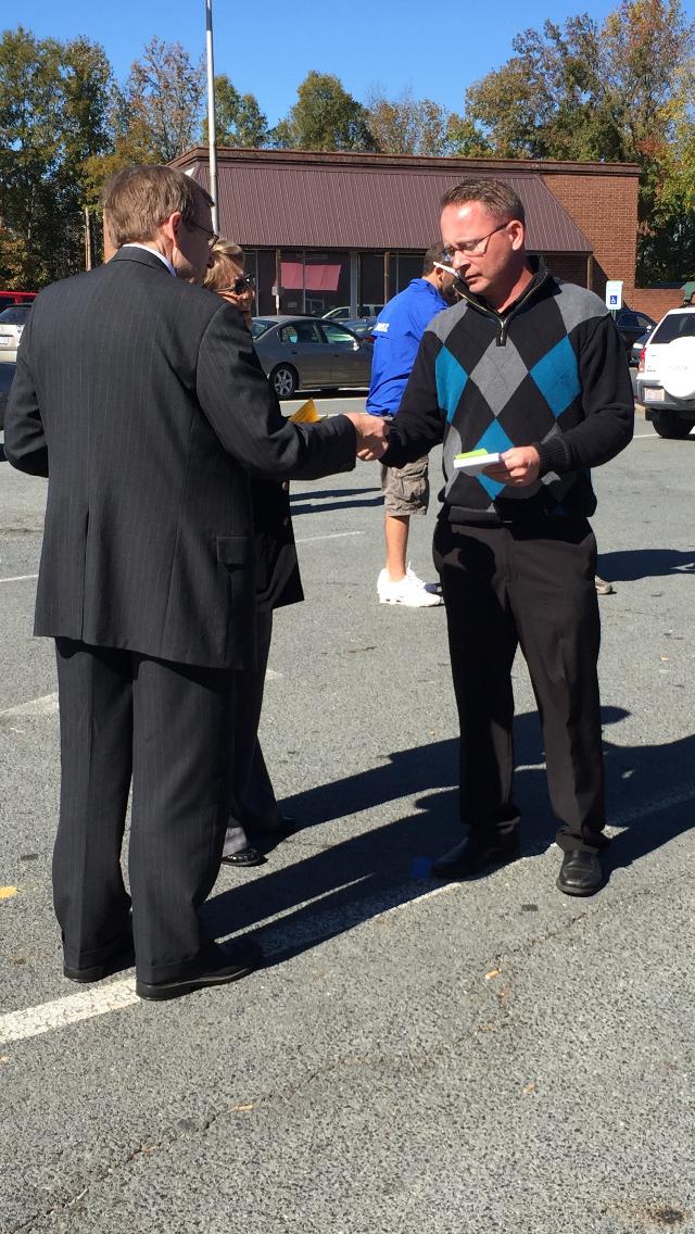 Meeting early voter in Albemarle, November 4, 2016.
