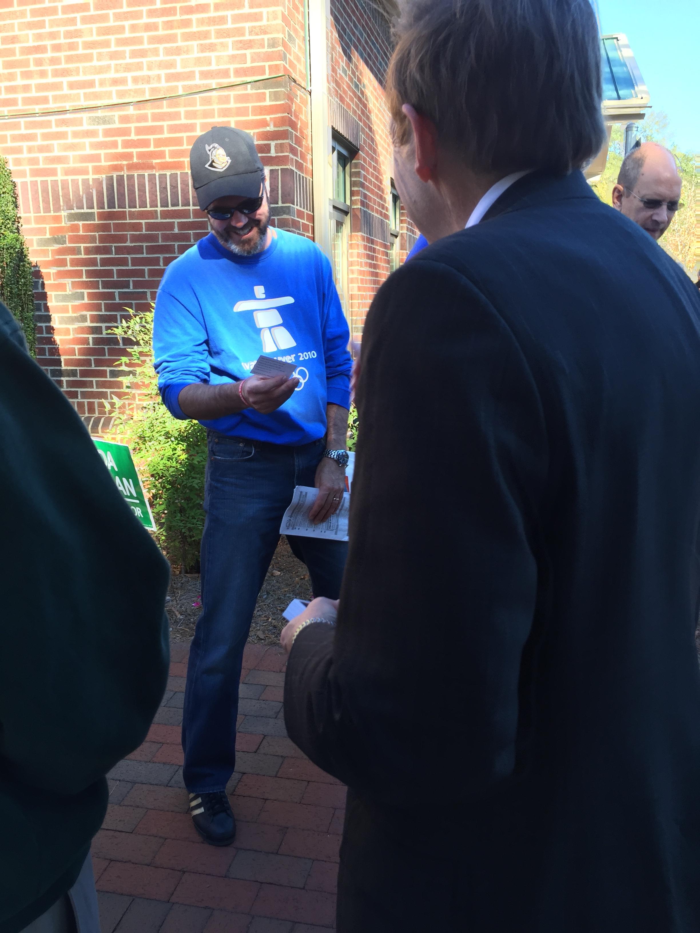 Meeting early voter in Pinehurst, November 4, 2016.