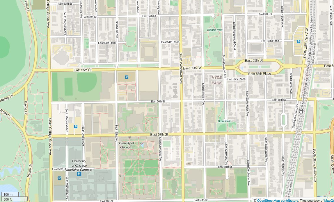 (Home Sweet) Hyde Park, Chicago. Chicago is notoriously flat, and Hyde Park almost exclusively follows a gridded street plan (not including a few urban renewal-related aberrations, such as I.M. Pei's University Towers on 55th Street). Map via  OpenStreetMap