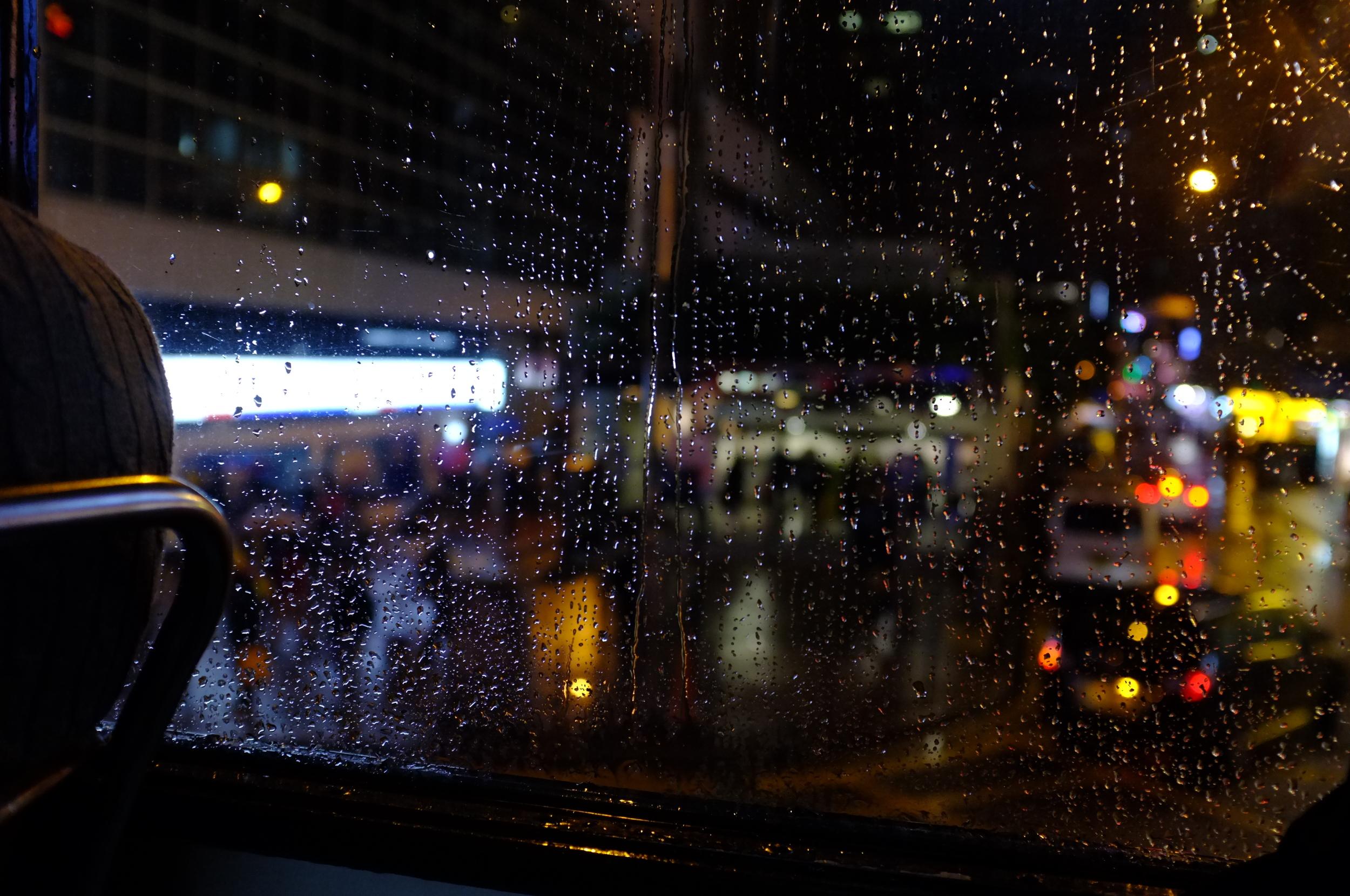 On the trolley in the rain, Wan Chai