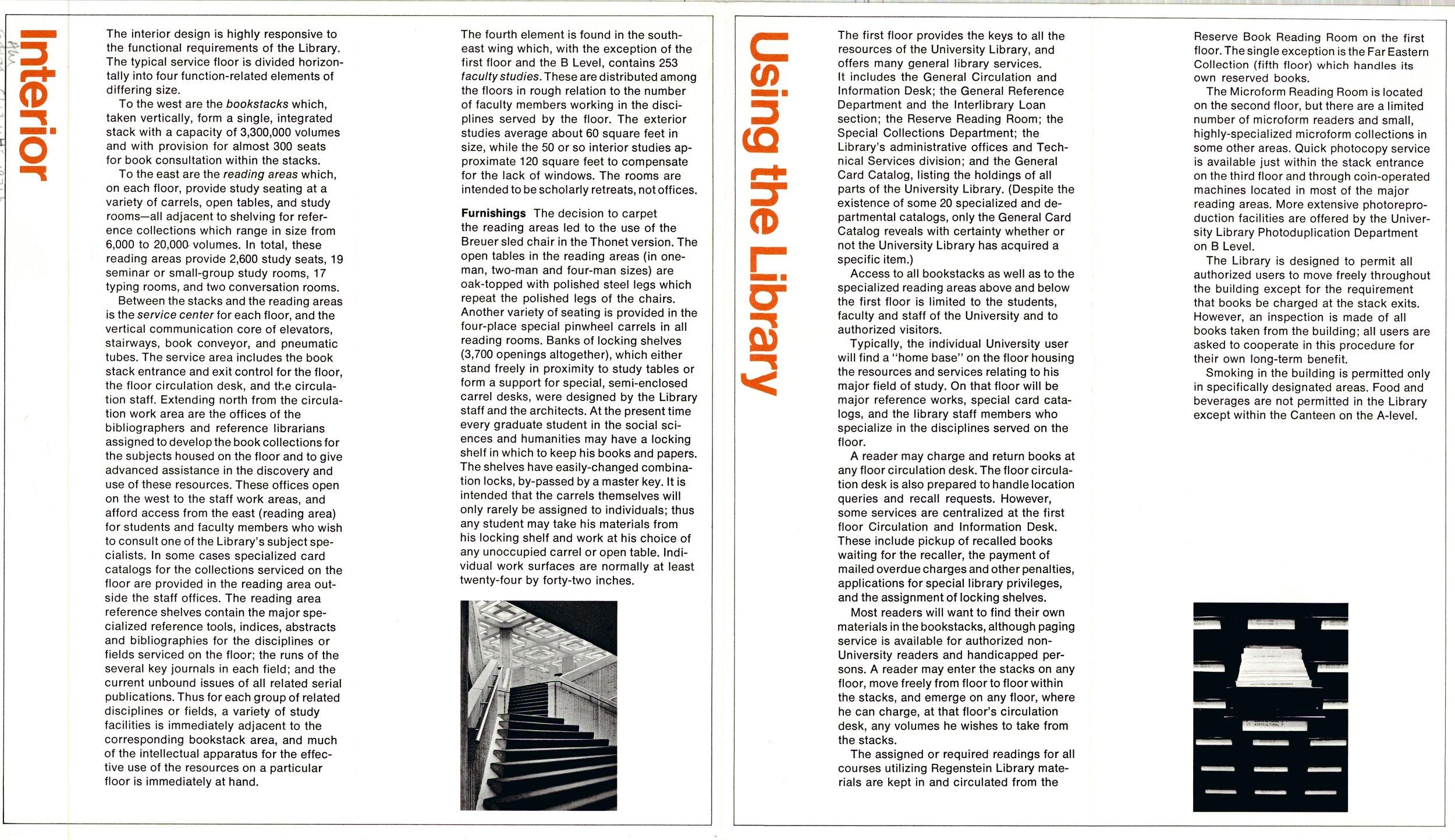 Brochure about the Joseph Regenstein Library, 1971