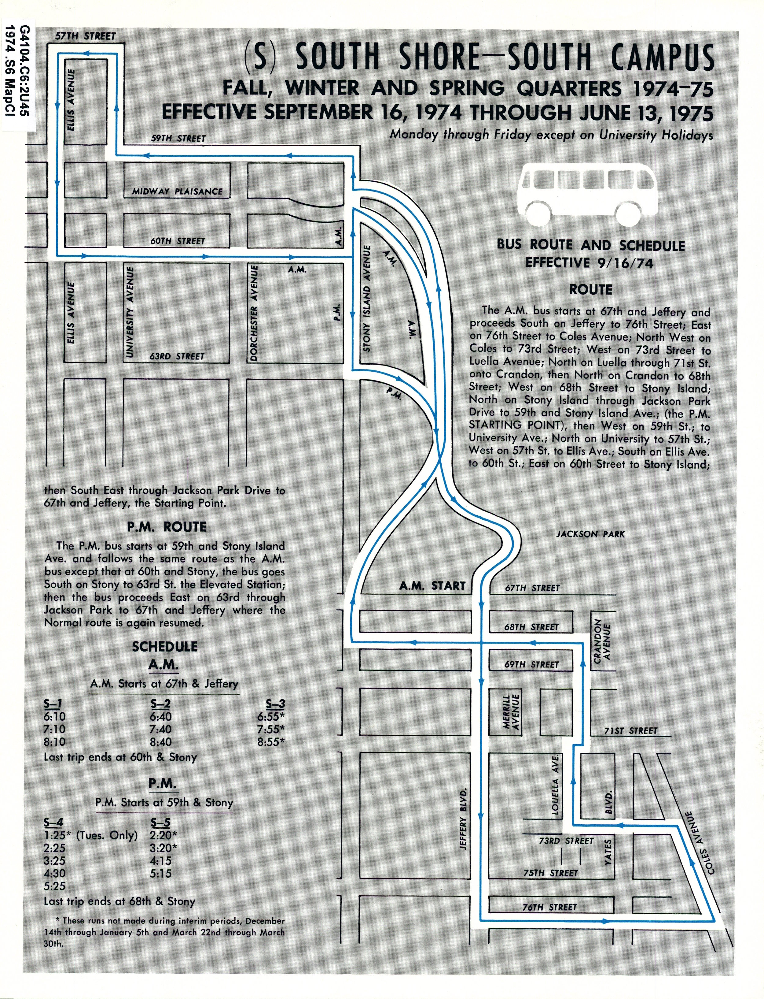 South Shore Shuttle, 1974-75
