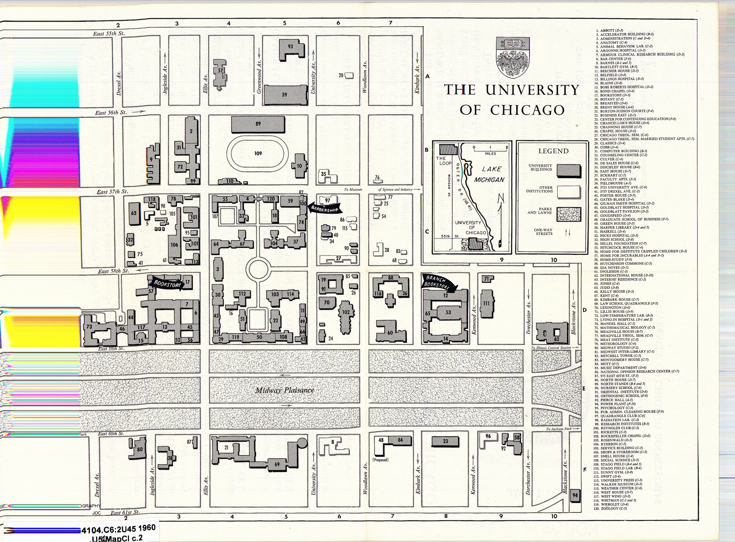 Campus Map from 1960 (complete with aesthetically-pleasing scanning error)