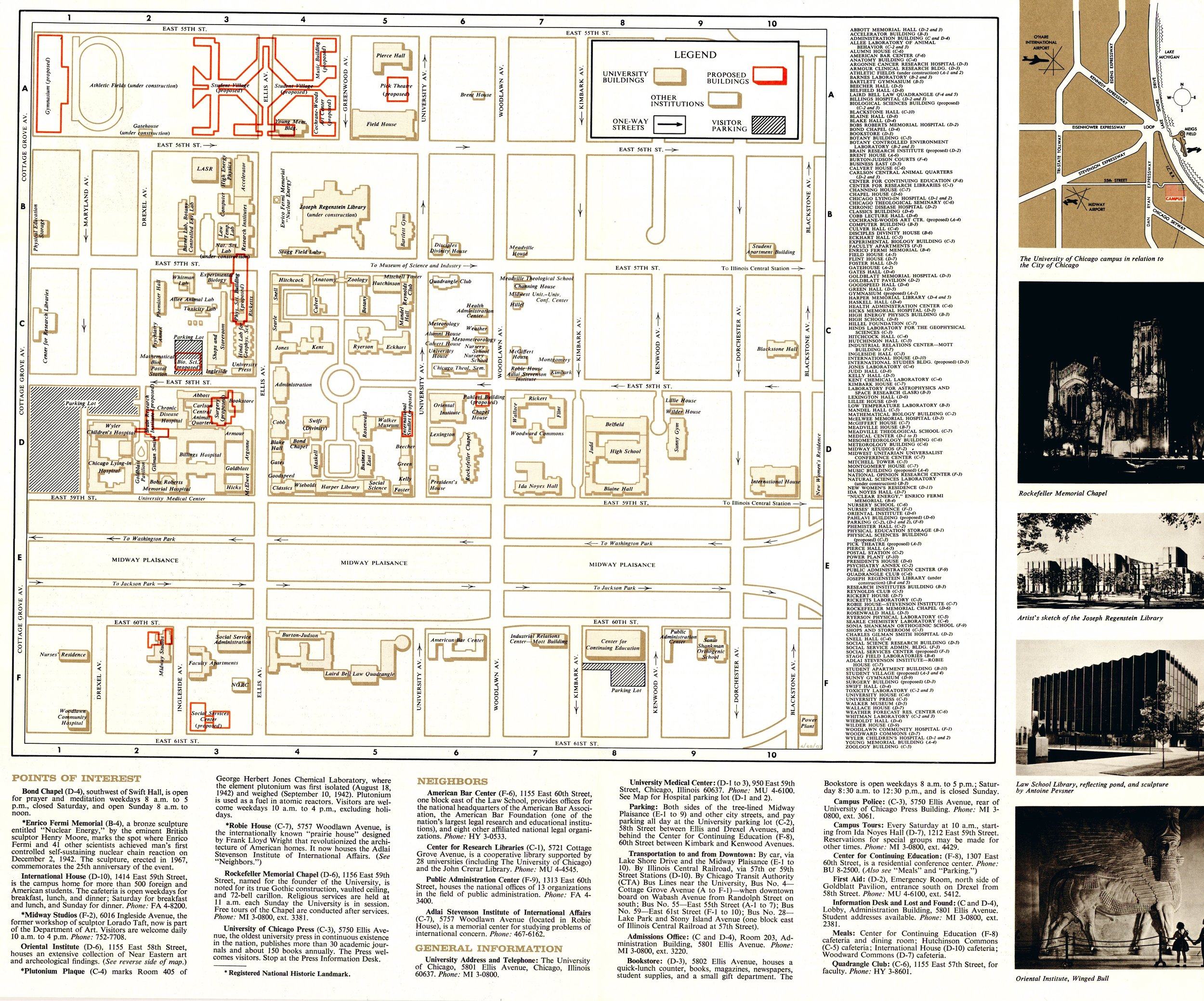 """Campus Map, 1968 (note the proposed """"student village"""" by 55th and Ellis!)"""