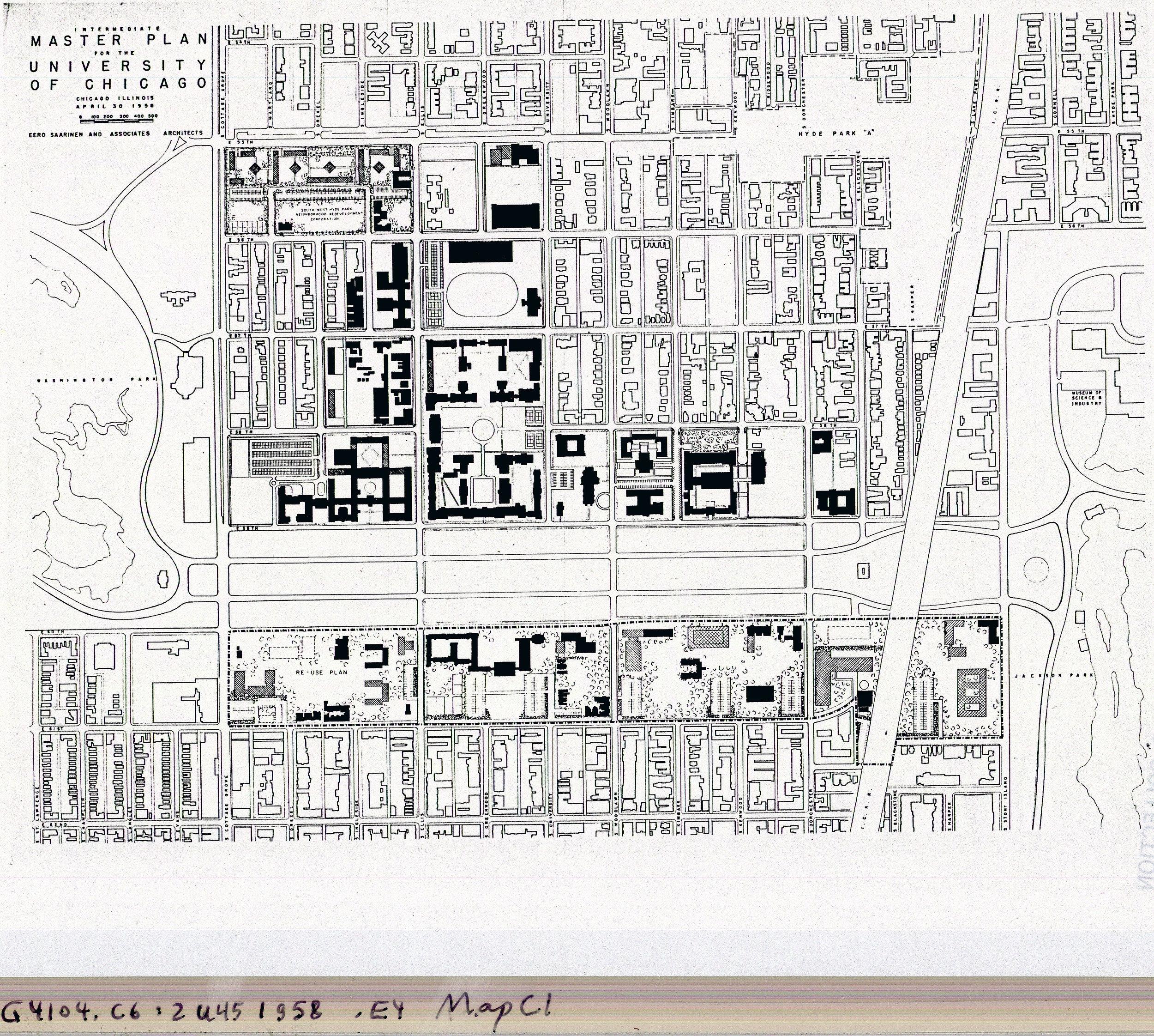 Eero Saarinen's Map of Campus, 1958