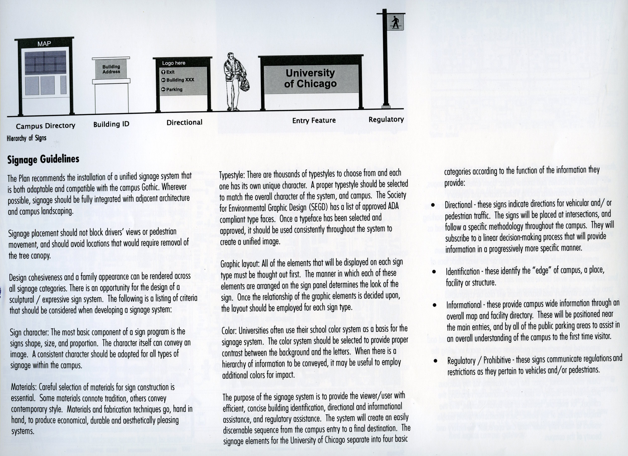 Campus Signage Guidelines, from the 1999 NBBJ Master Plan