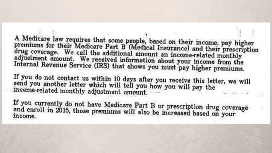 Social Security Administration's letter about medicare law