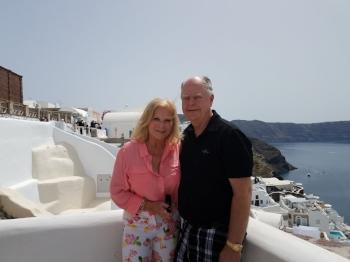 Marilyn and Steve in Santorini, Greece