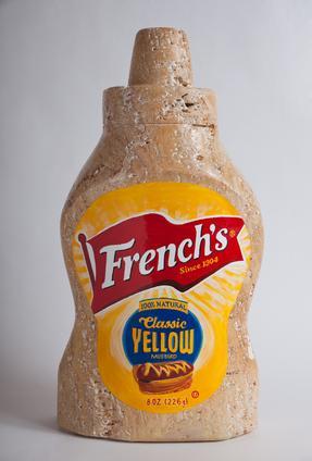 "Robin Antar,  French's Mustard , 2011,  yellow travertine, 20""h X 11""w X 6.5""d"