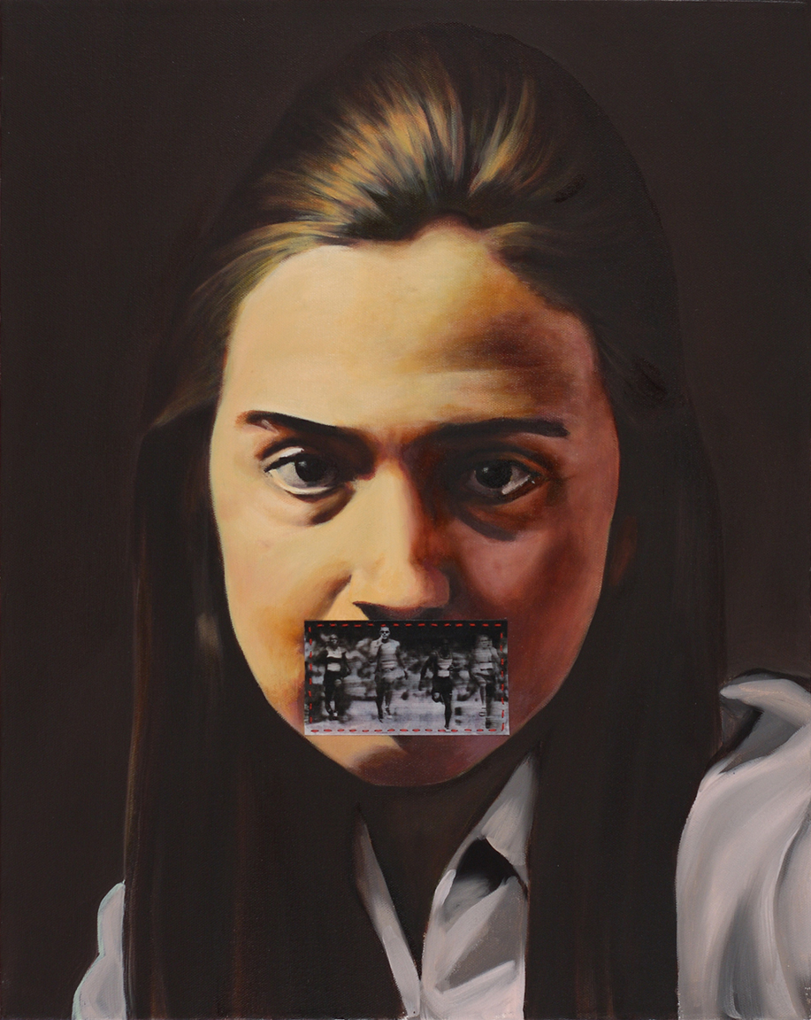 Hillary Rodham , 2012, oil on canvas with inkjet on vellum and thread, 20 x 16 inches