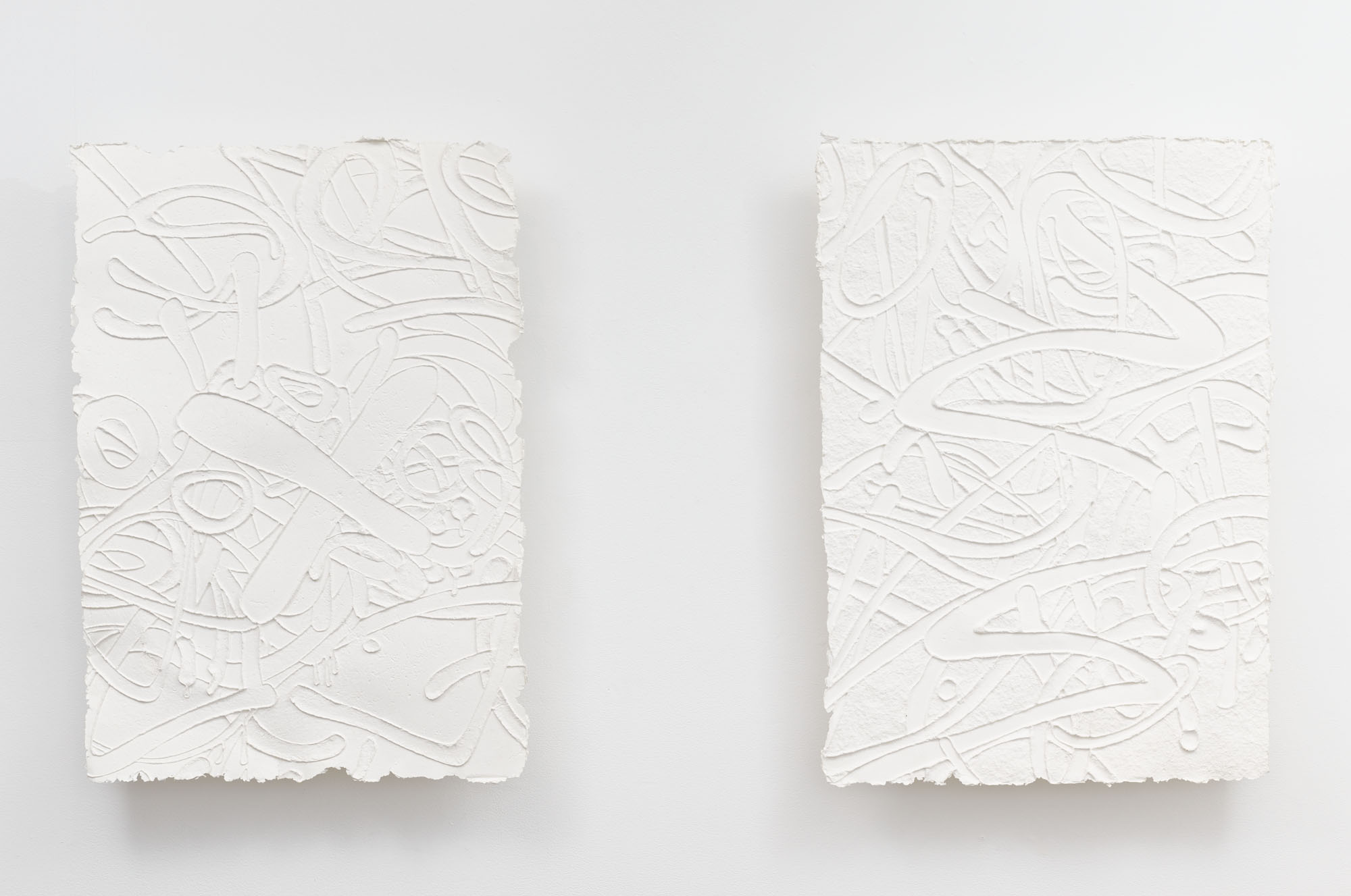Steve Pauley's (Untitled) Bergen Street X-Out, 2014 (left,)  and Mark out, 2014 (right)