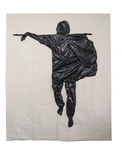 "Image: Fanny Allié , Man-Bare Feet (2018,) 88"" X 72"" Sewn trash bags on canvas"