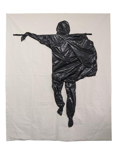 "Man-Bare Feet  (2018,) 88"" X 72"", Sewn trash bags on canvas"