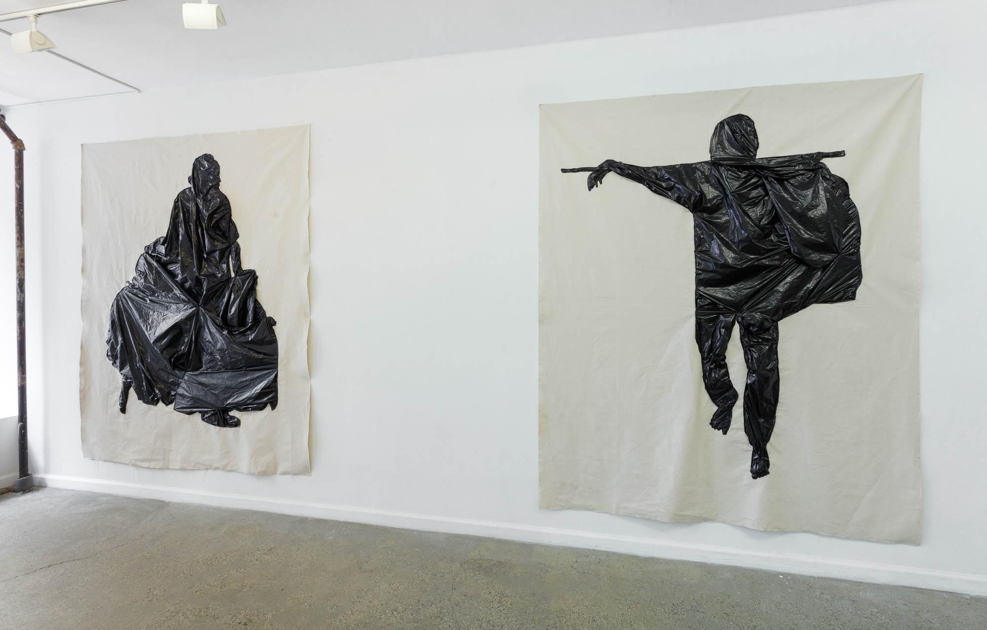 Fanny Allié's Woman-Lost Shoe, 2018 (left) and Man-Bare Feet, 2018 (right)