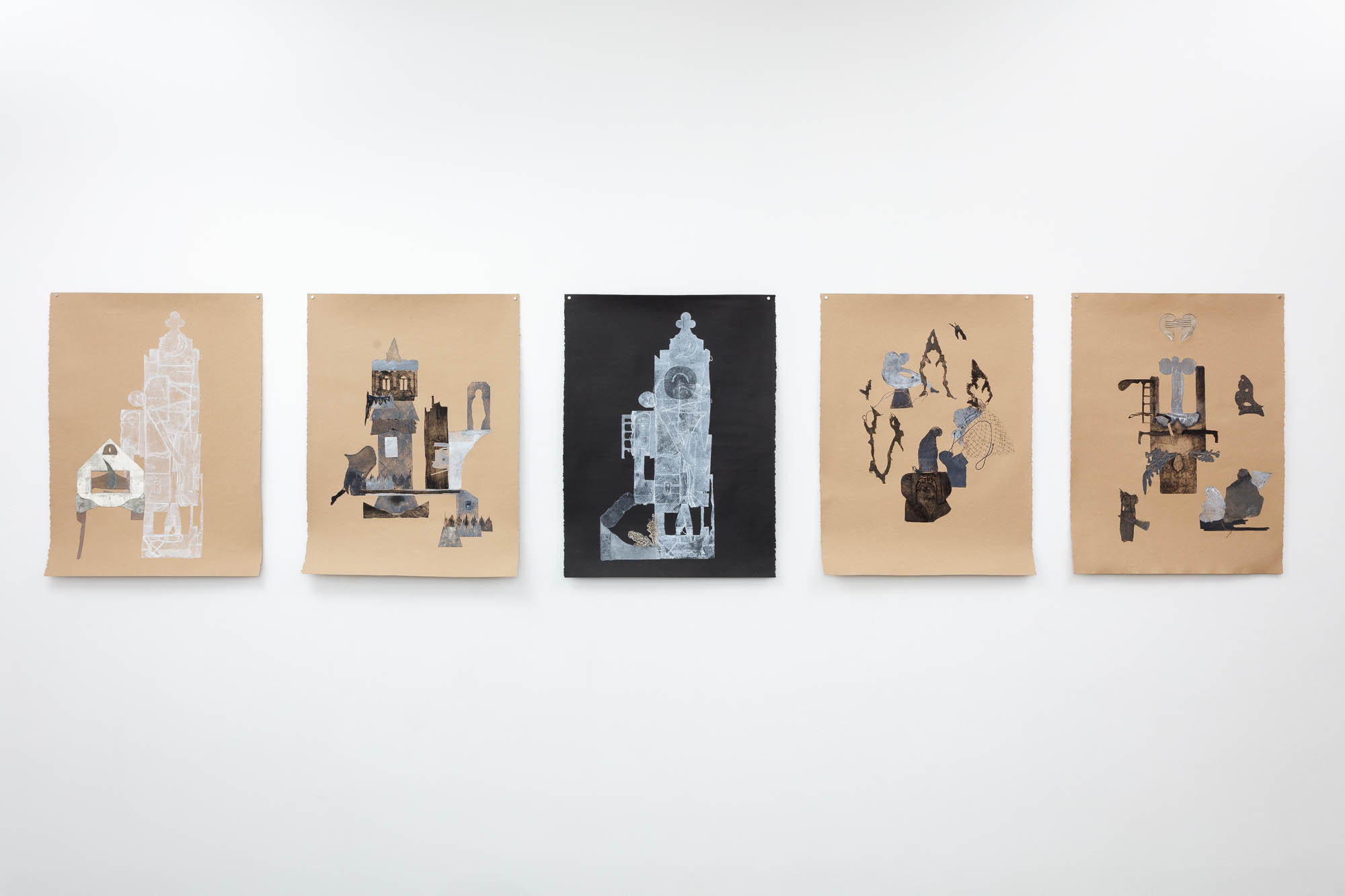 Fanny Allié's Attached House, 2017, Veiled, 2018, Black Tower, 2018,  Dancing Shadows, 2018, and Heart-Angel, 2018 (Left-to-Right)