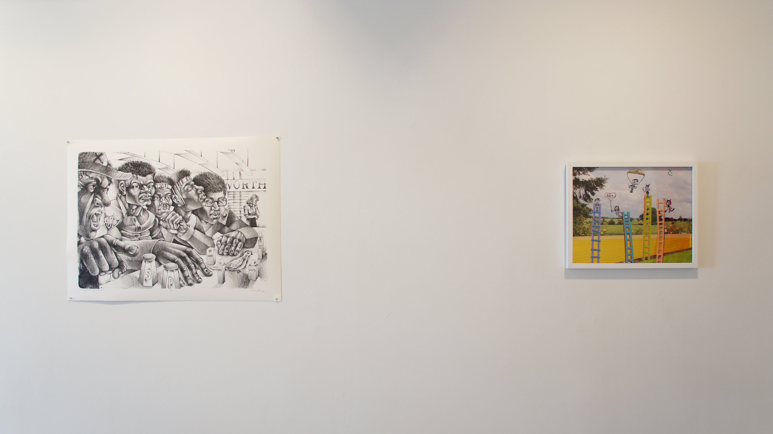 Installation view of Steve Prince's Salt of the Earth (2017,) (L) and Michelle Westmark Wingard, Allie Wingard, and Naomi Wingard's We Will Build Ladders 6 (2016,) (R)