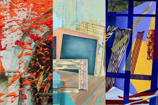 """Image Left to Right: Audrée Anid,  Fractured decorum , From the series Re-Fractions (2013), Oil paint on C-Print, 4"""" x 6""""; Kelly Olshan,  The Farther  (2015), Oil, acrylic, recycled paint and tape, molding paste, and graphite on 3D panel, 50"""" x 55.5"""" x 7""""; Jamie Earnest ,  Sins Against Alabama  (2017), Oil, foil, graphite, wax, and marble powders, 38"""" x 60"""""""