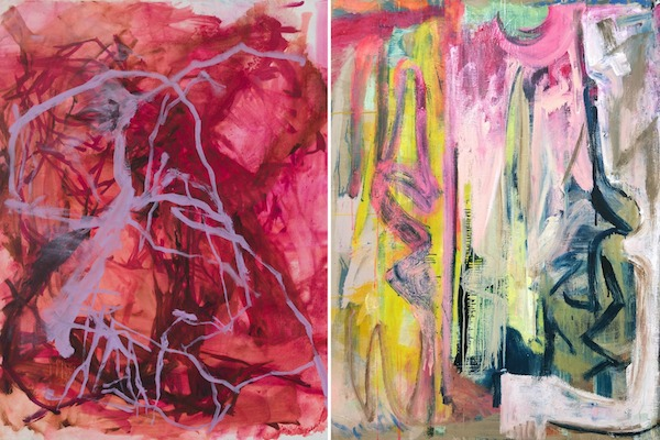 "Image Left to Right: Elizabeth Gilfilen,  Underscore #2  (2018), Oil on canvas, 20""x16""; Molly Herman,  Looming  (2018), Oil on linen, 58"" x 48"""