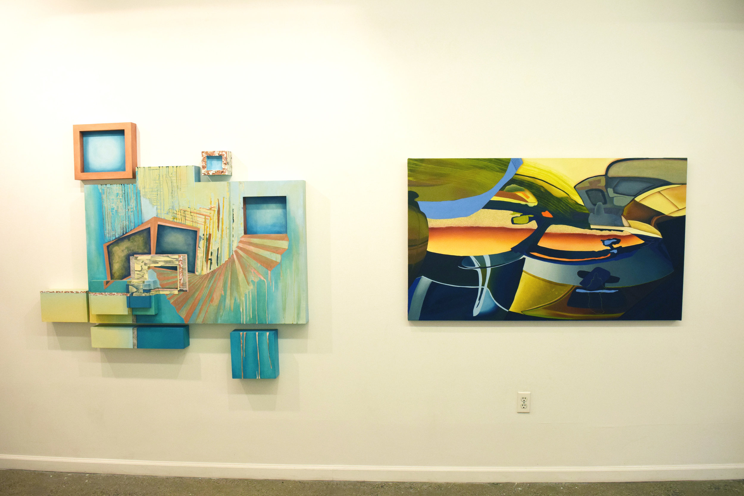 Installation view of Kelly Olshan's The Farther (2015) and Jamie Earnest's Saint Mary Help Us (2016)