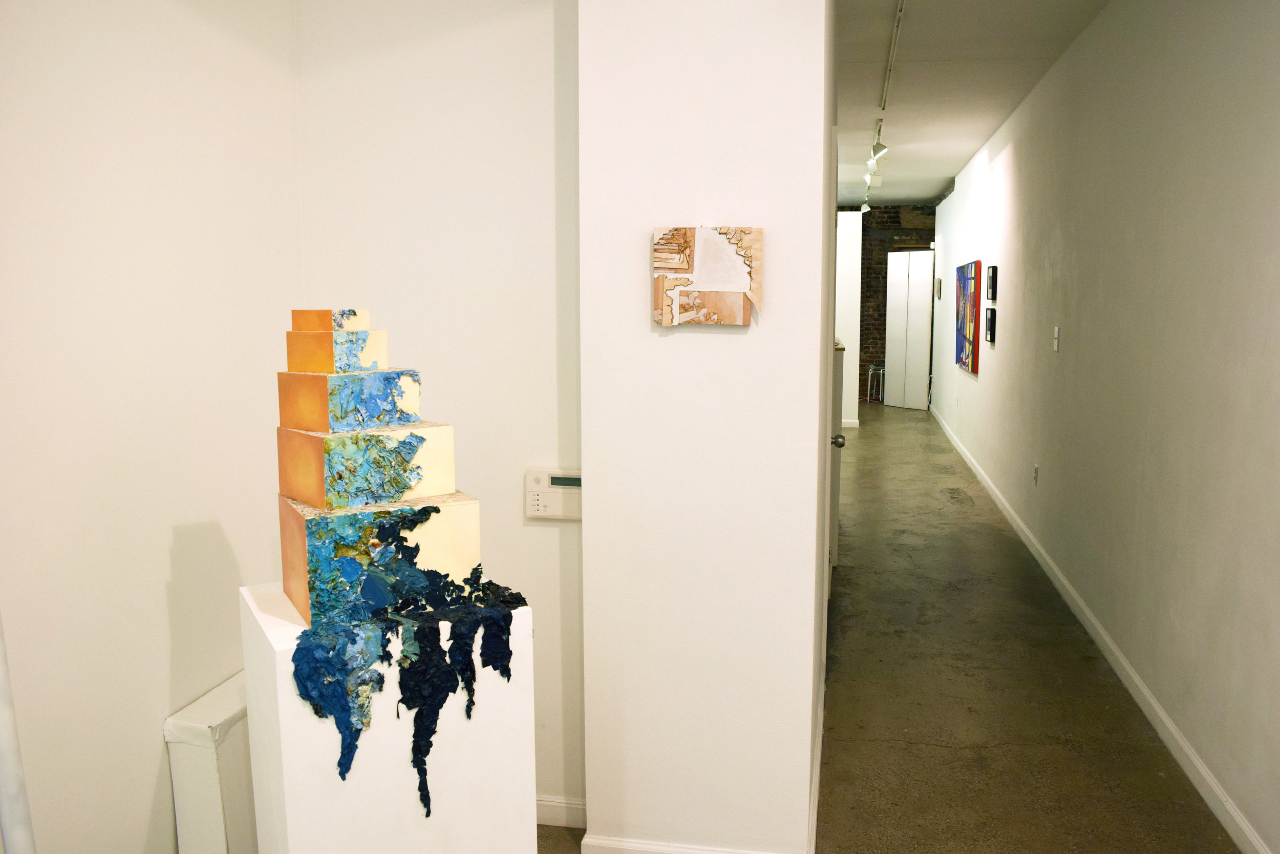 Installation View of Kelly Olshan's Staircase in Blue (2015) and No Summit, Laser Cut Edition (2017)