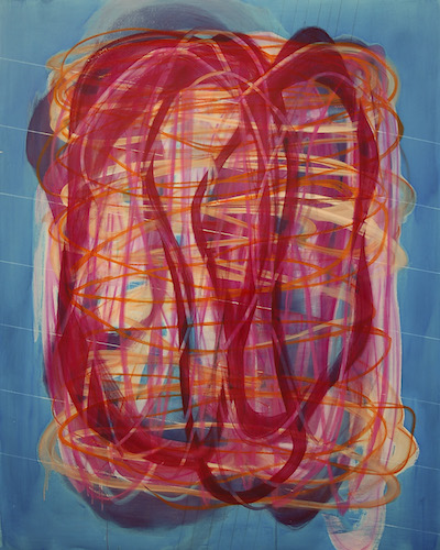 Henning Haupt,  #18983, Magenta engaging with Orange  (2018,) Ink, oil on panel, 60 x 48 inches/122 × 152 cm