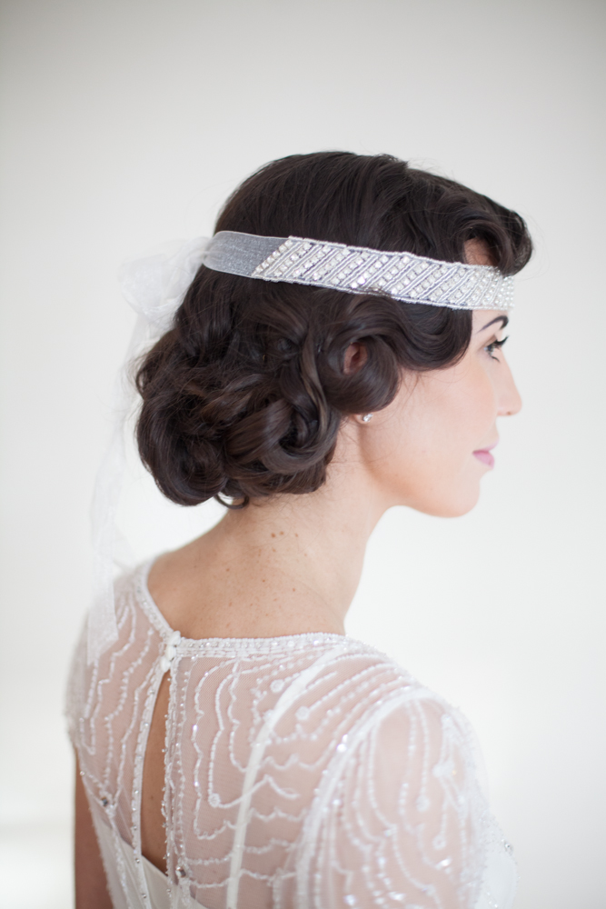 1920's Faux Bob with Finger Waves and Headpiece 4