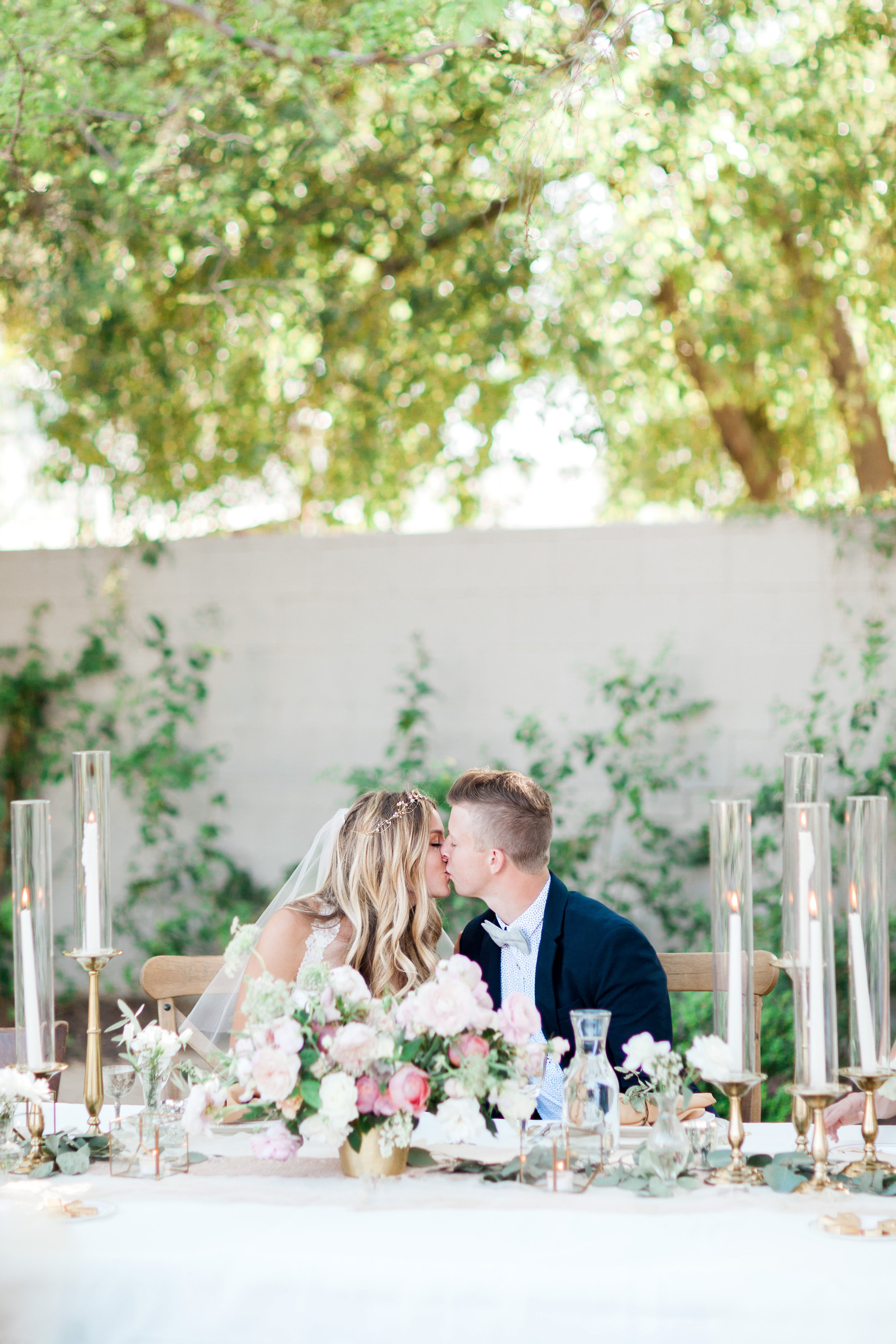 romantic blush and gold backyard wedding phoenix arizona