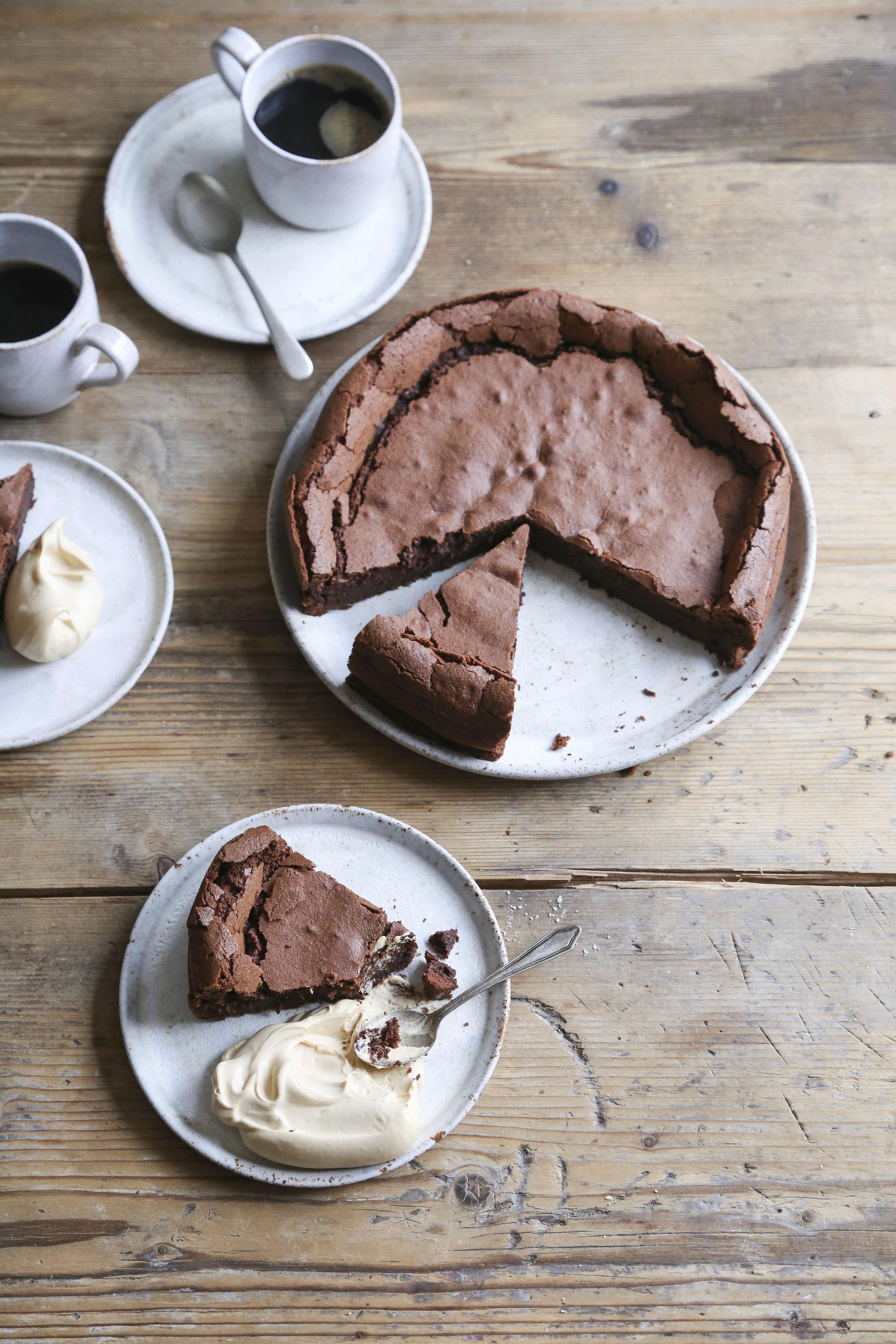 Flourless Chocolate Cake With Salted Caramel Cream The Boy Who Bakes