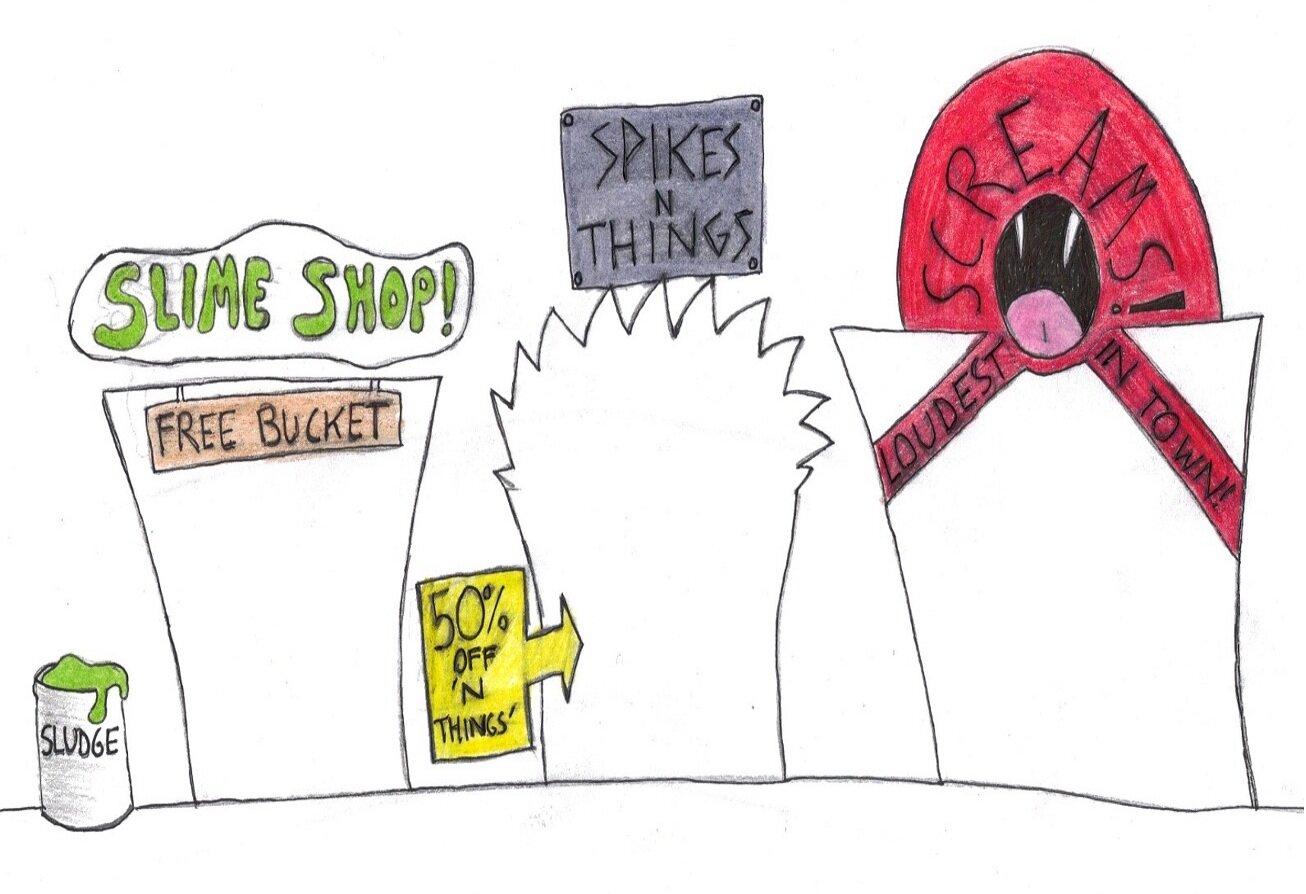 Illustration of doors to stores in a monster mall. Slime Shop. Spikes N Things (50% off %22N things%22. Screams (loudest in town).jpg