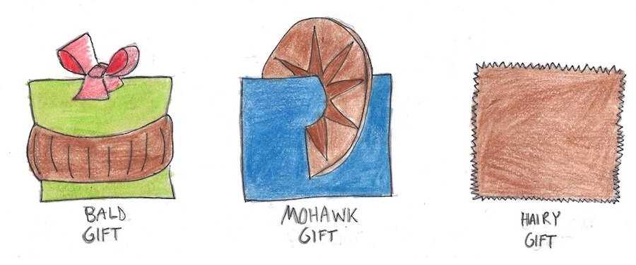 Illustration of three gift boxes. Bald gift. Mohawk gift. And hairy gift..jpg