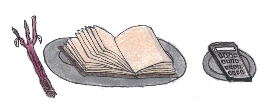 Illustration of a book on a plate next to a stick-fork and a calculator on a smaller plate.jpg