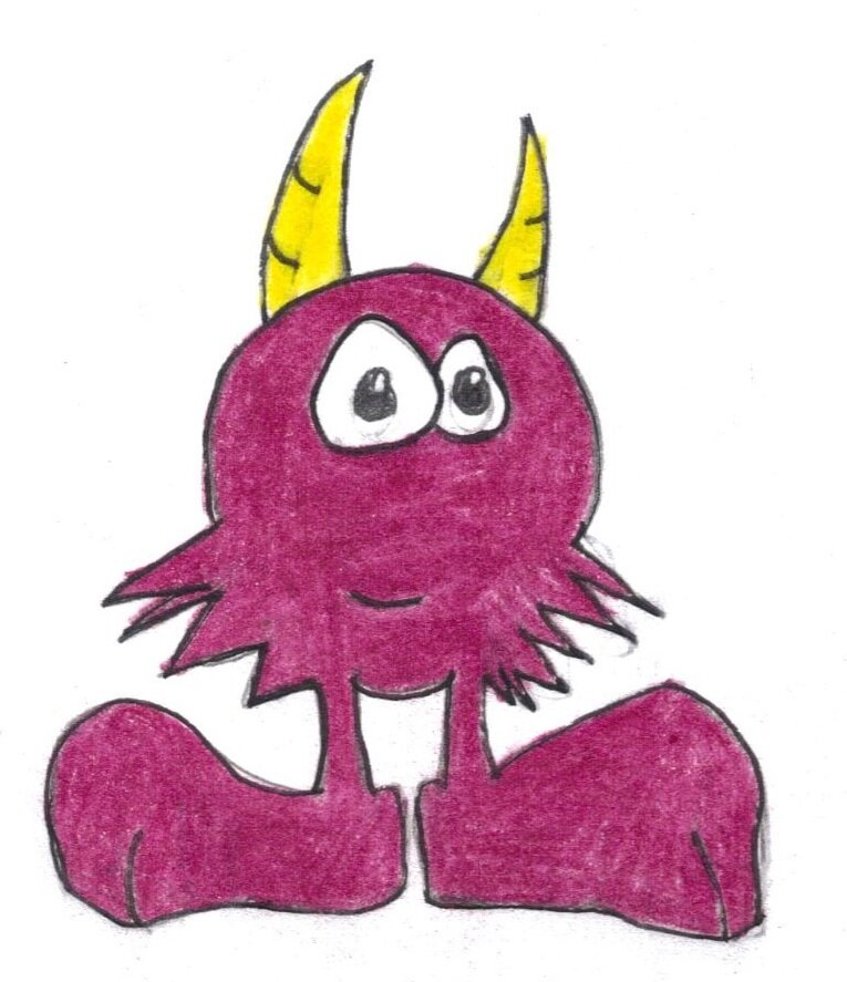 Illustration of a tiny monster with horns and smile.jpg
