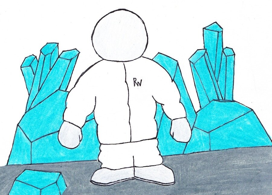 """Raymond Mayweather on the surface of the cold planet with crystal structures all around him. He's wearing a puffy space suit with the letters """"RW"""" and a space helmet that blocks his face..jpg"""