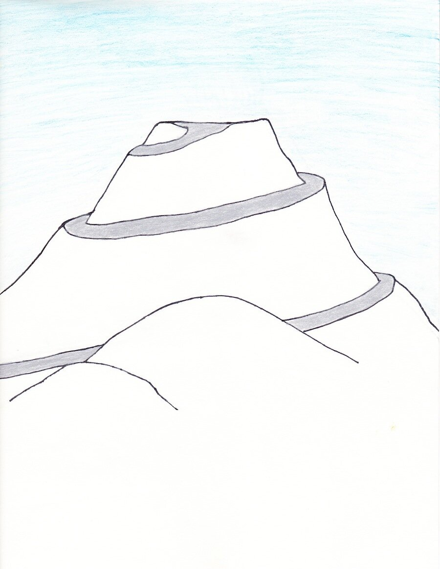 A snowy mountain with no top. It has a winding path that leads up to the top, where it plateaus.jpg