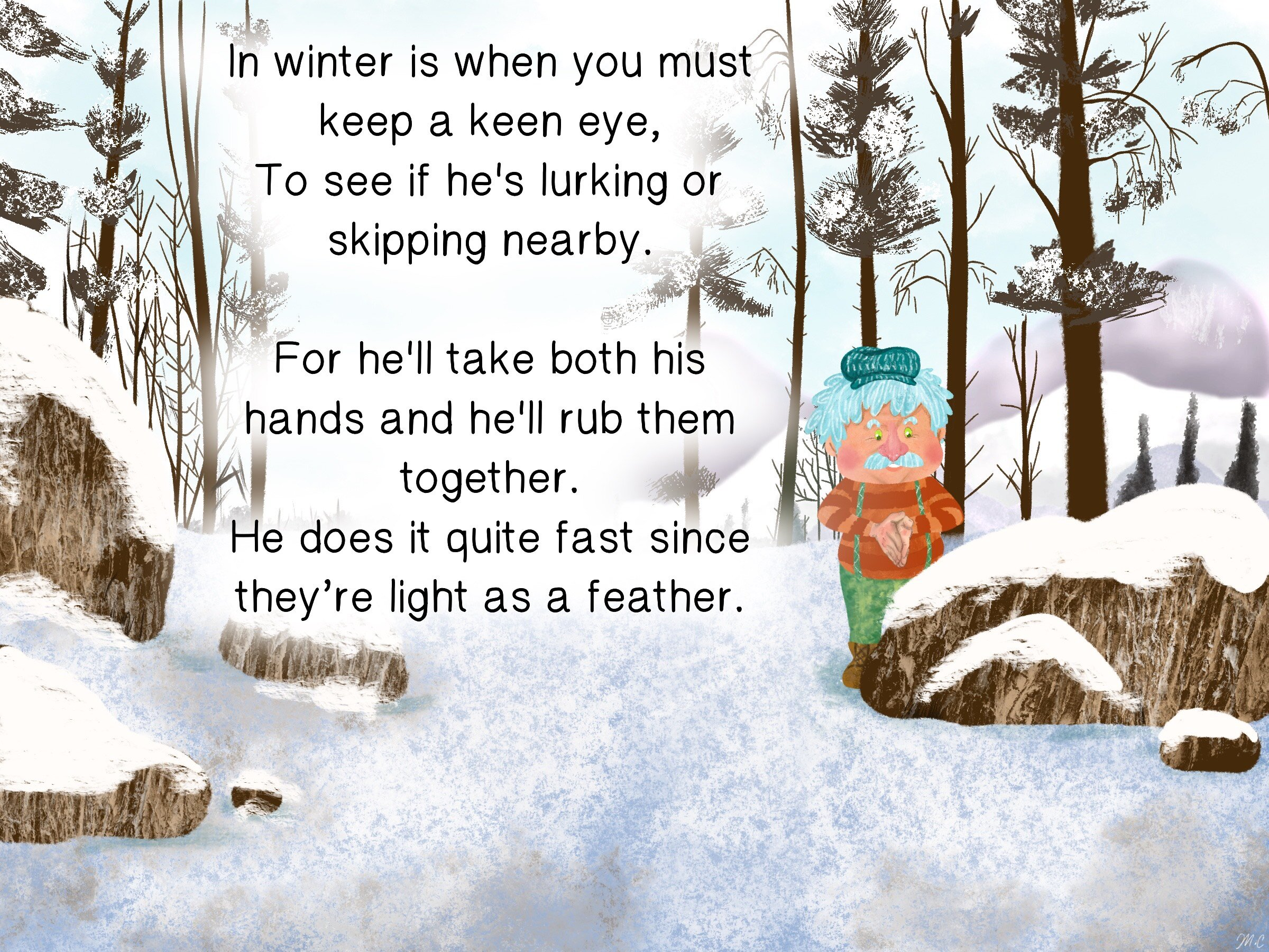 6 Mr McKay in the snow on a winter day holding his hands together.jpg