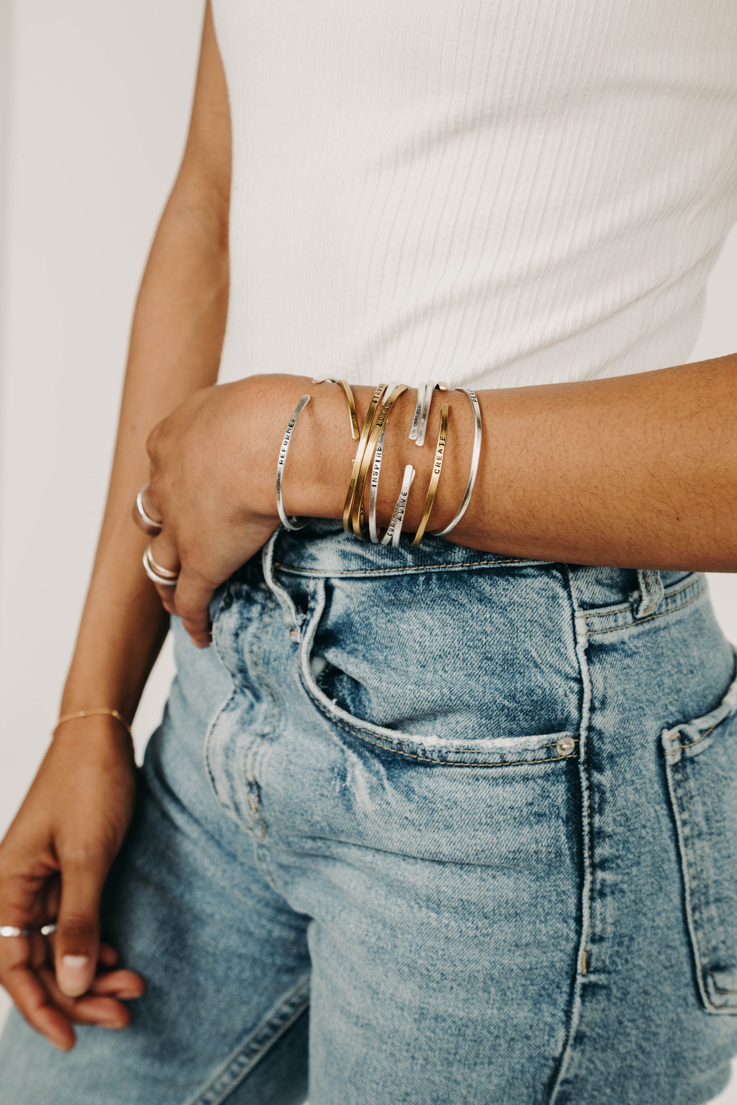 Cuff Collection - The perfect minimalistic and gender-neutral accessory. Our unique metal cuff bracelets can be worn stacked or solo.