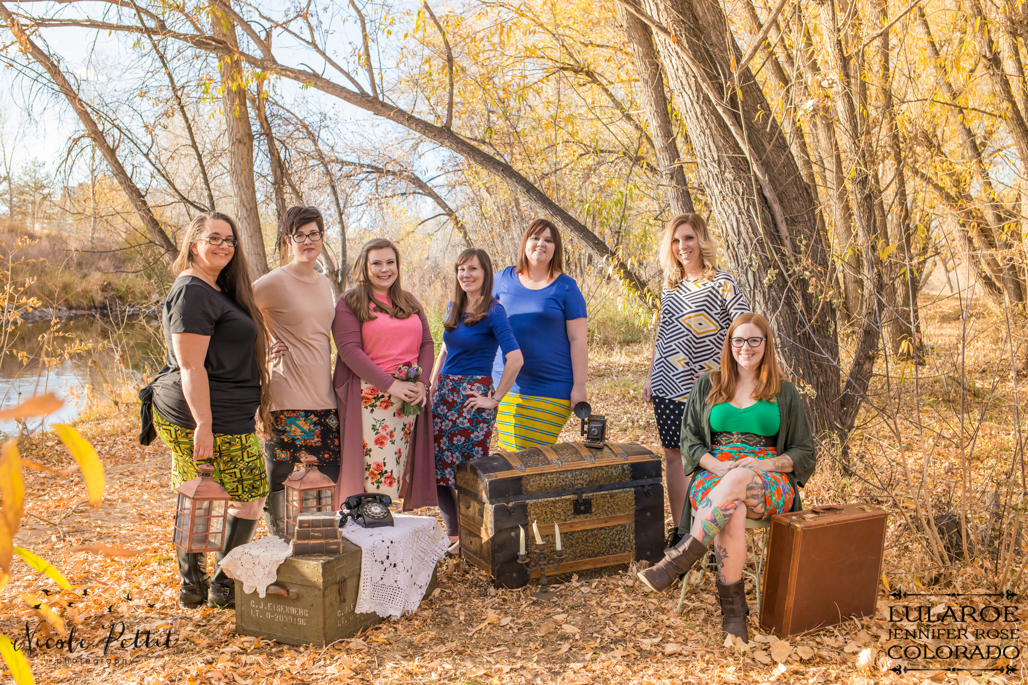 Group of women wearing Lularoe with Jennifer from Colorado clothing at the Poudre River Trail in Fort Collins, Colorado